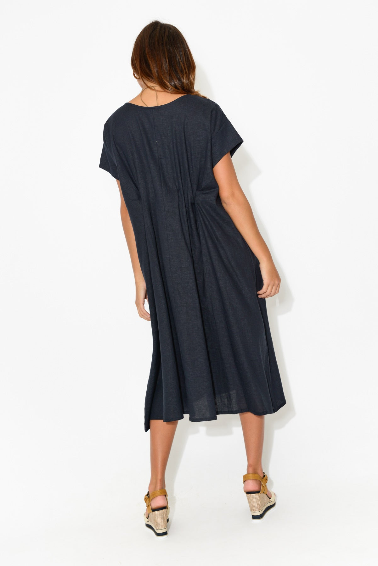 Nova Navy Gather Back Dress - Blue Bungalow