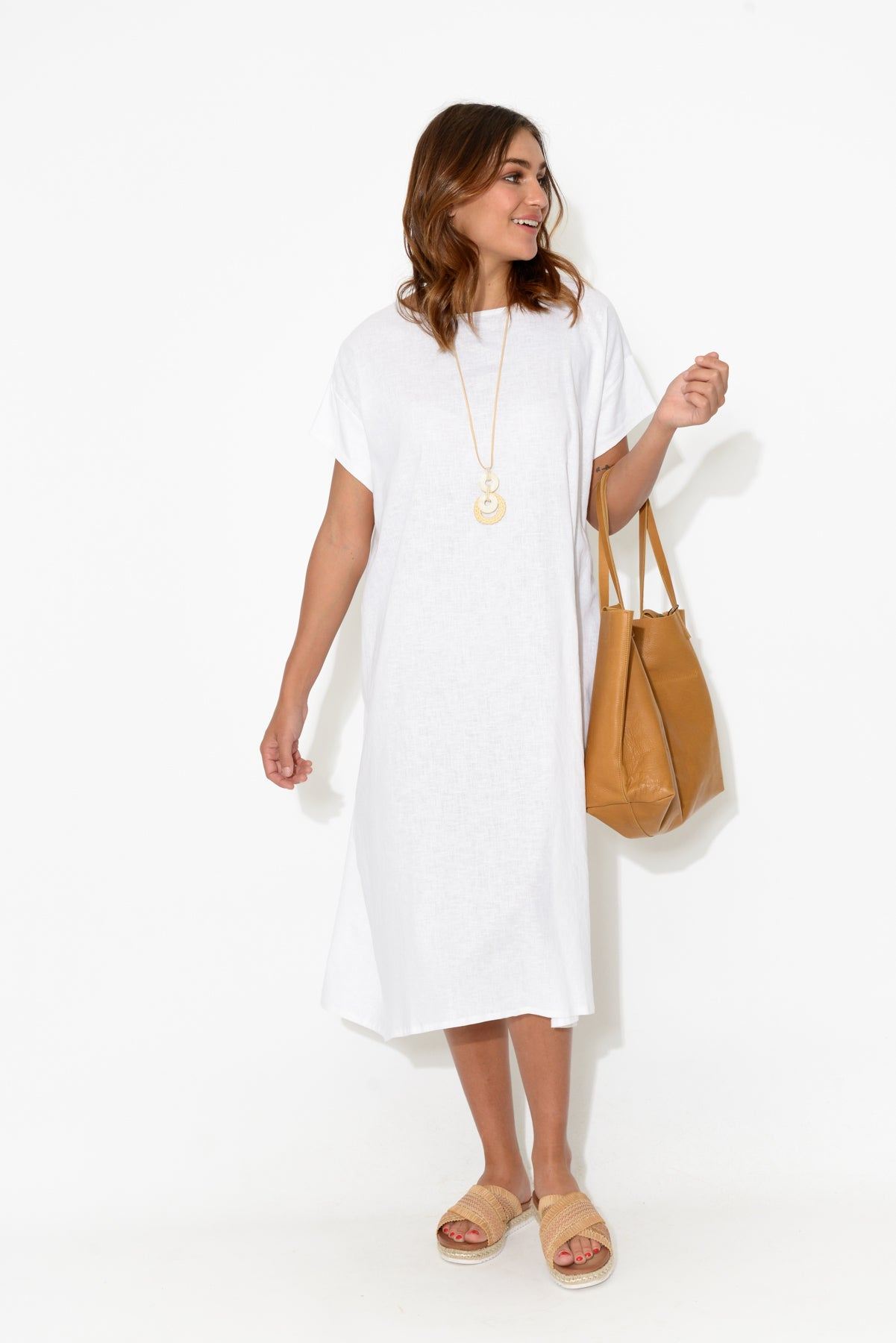 Nova White Gather Back Dress - Blue Bungalow