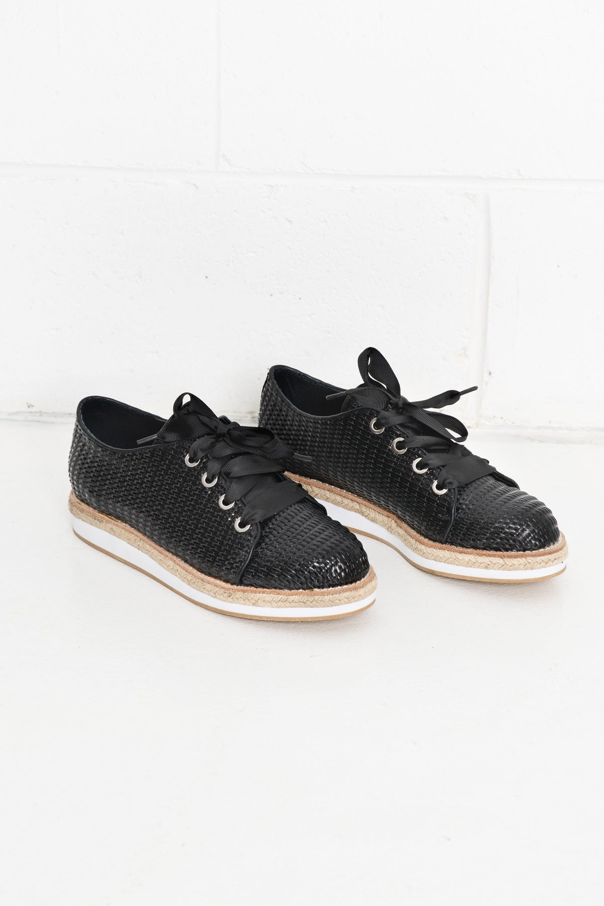 Novak Black Woven Leather Shoes - Blue Bungalow