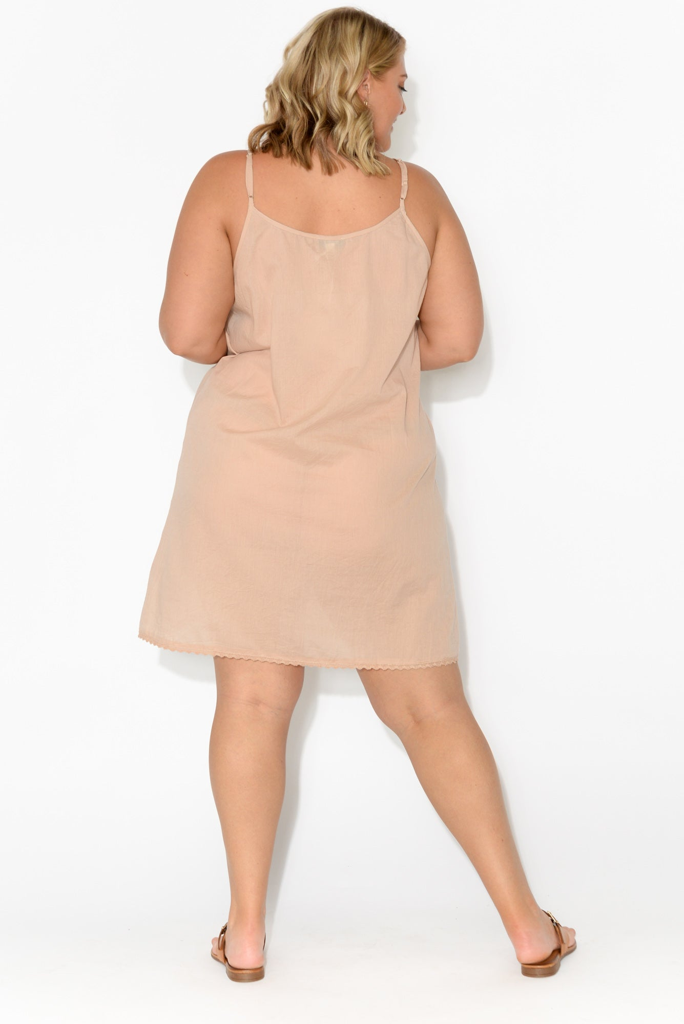 Nude Organic Cotton Reversible Slip Dress