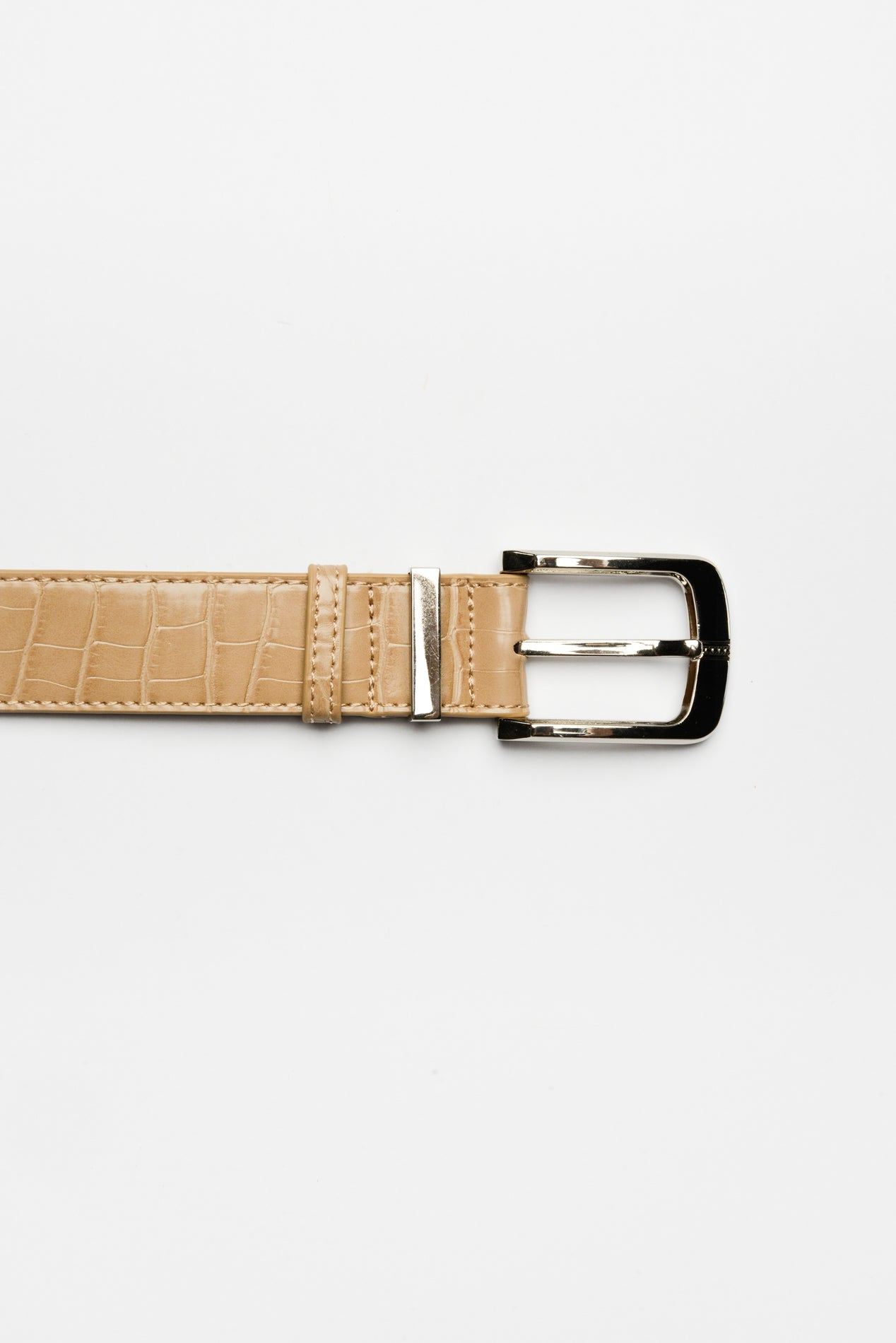 Nude Croc Embossed Belt - Blue Bungalow