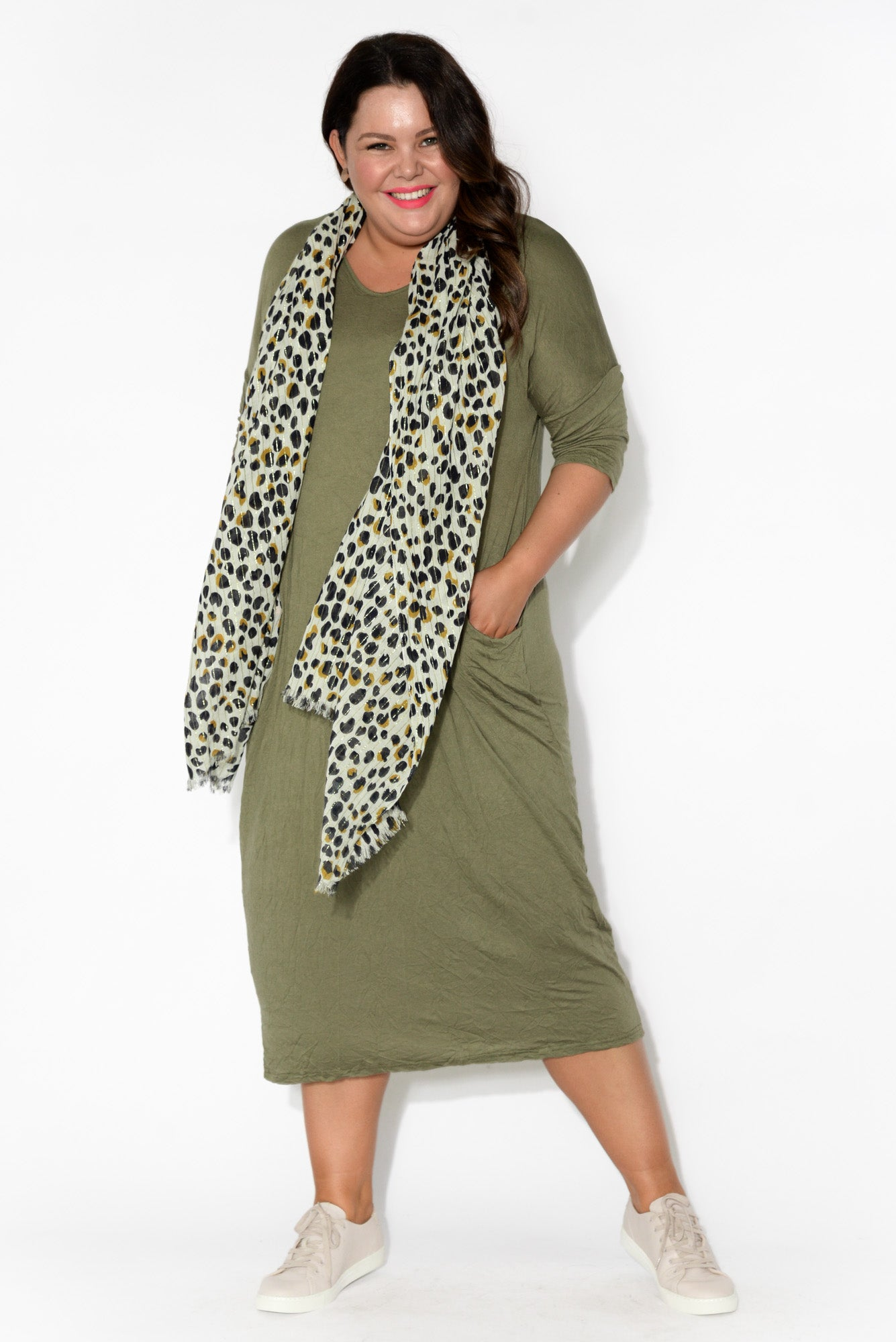 Olive Sleeved Pocket Cotton Dress