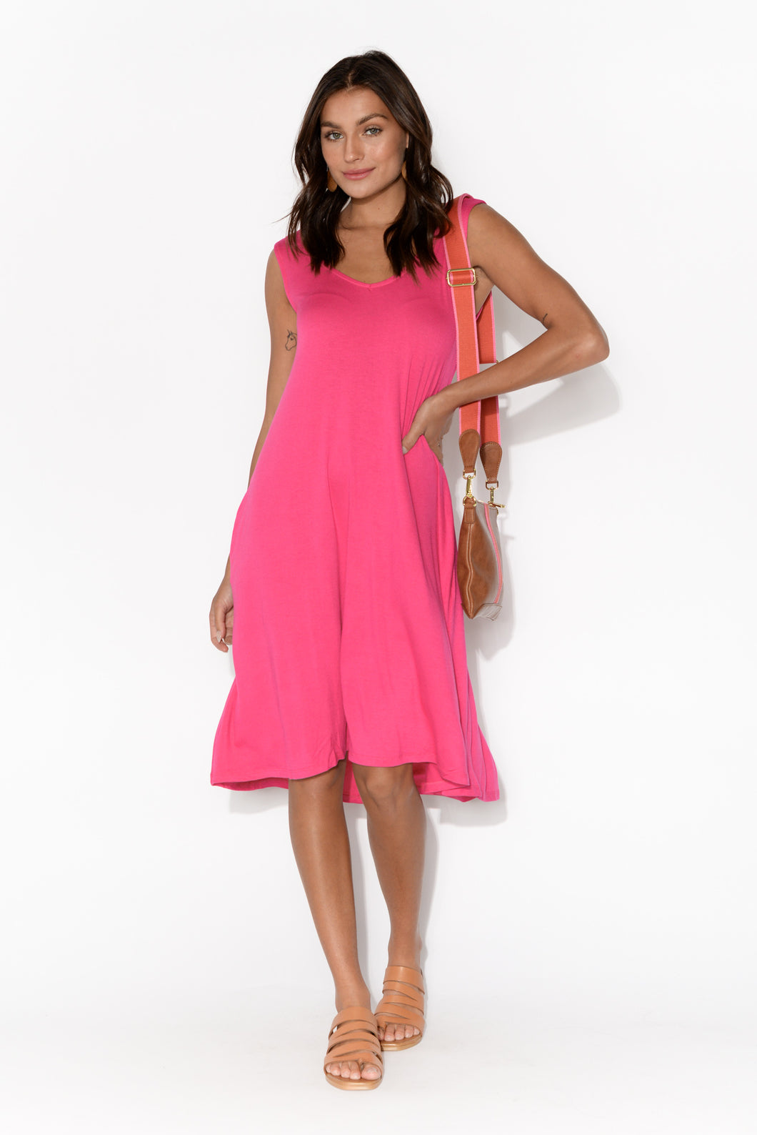 Oman Hot Pink Sleeveless Dress