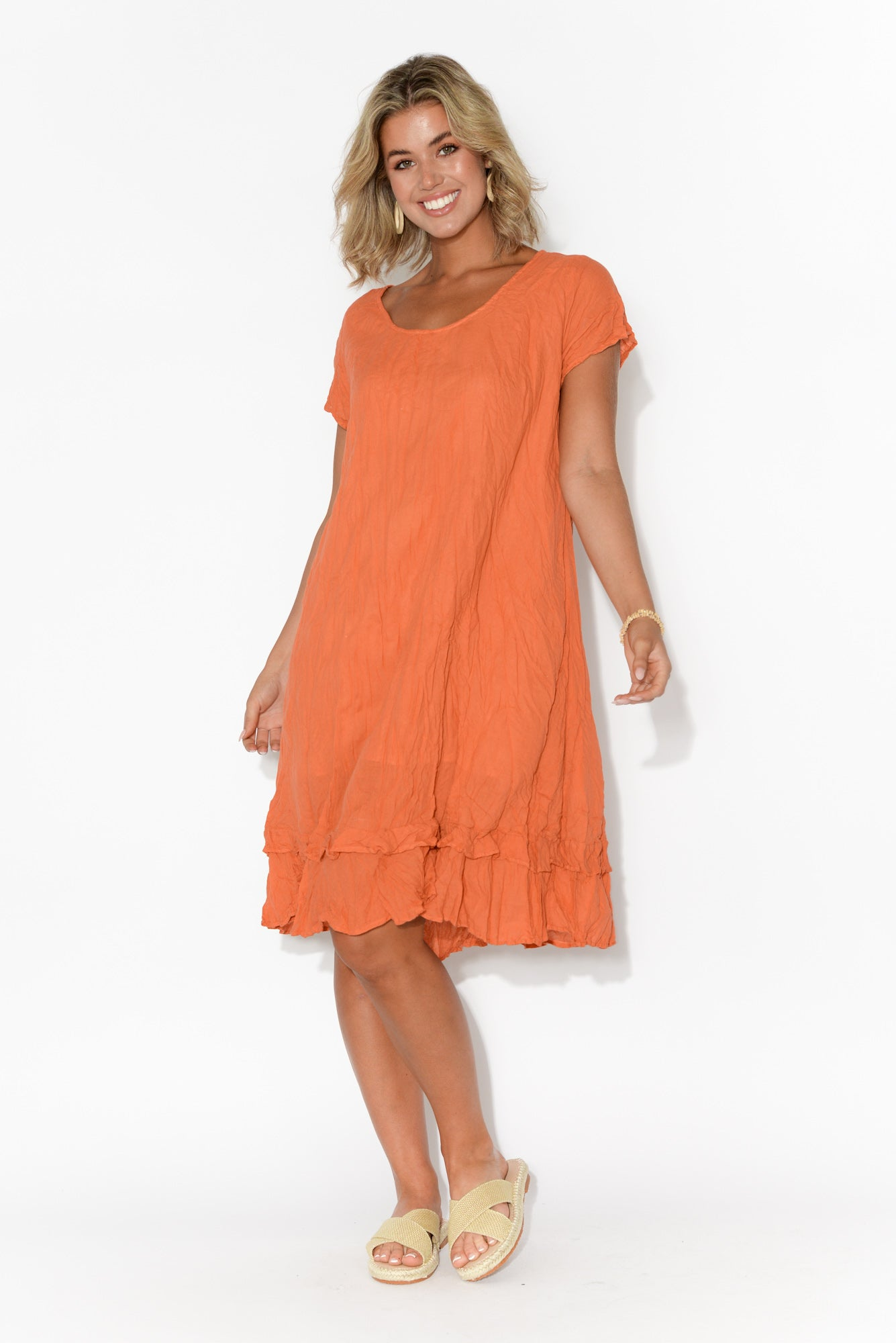 Orange Crinkle Cotton Swing Dress
