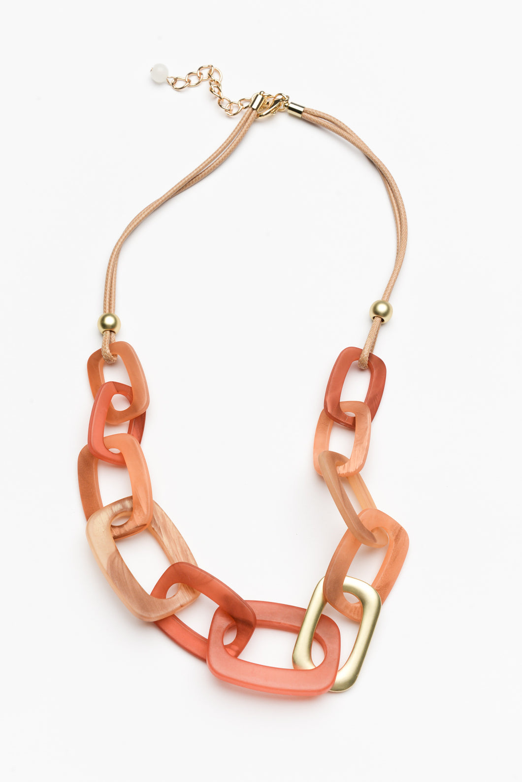 Orange Resin Link Necklace