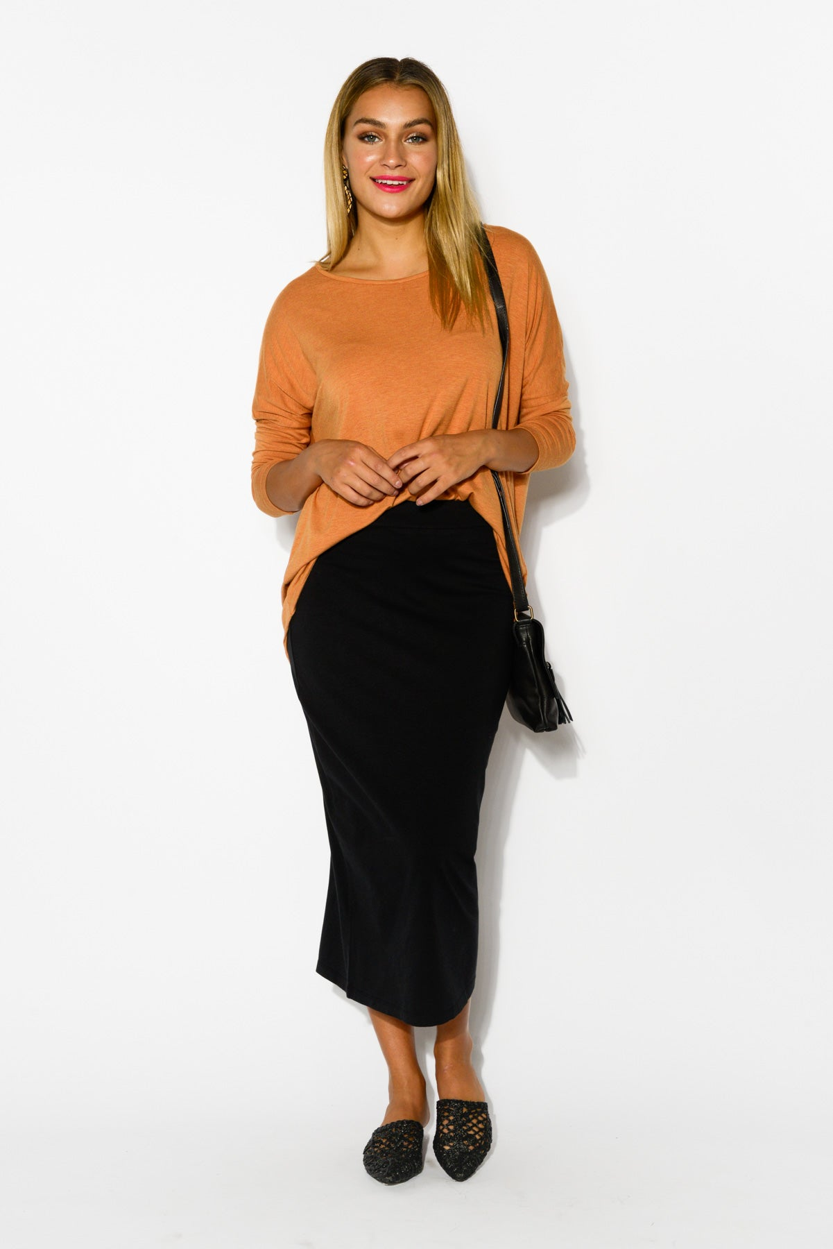 Gigi Black Midi Skirt - Blue Bungalow