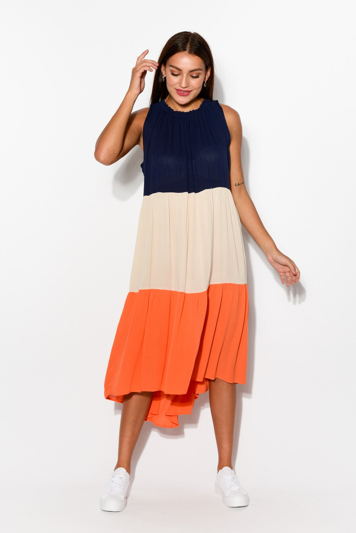 Orange Tiered Midi Dress - Blue Bungalow