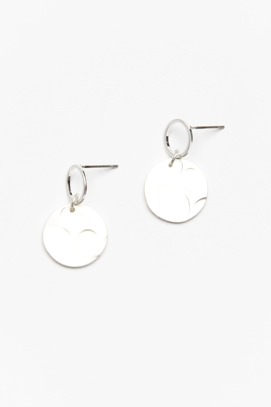 Oviedo Silver Disc Drop Earring