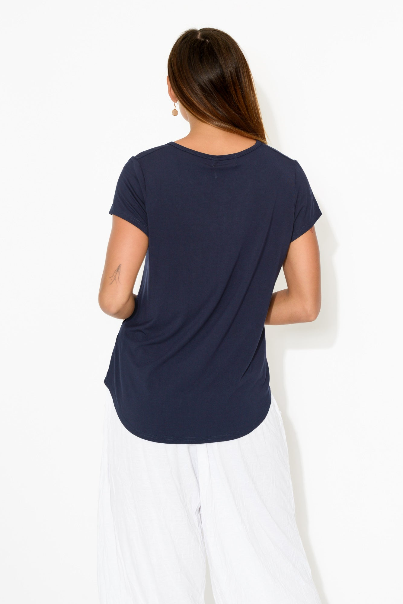 Paige Navy Bamboo Tee