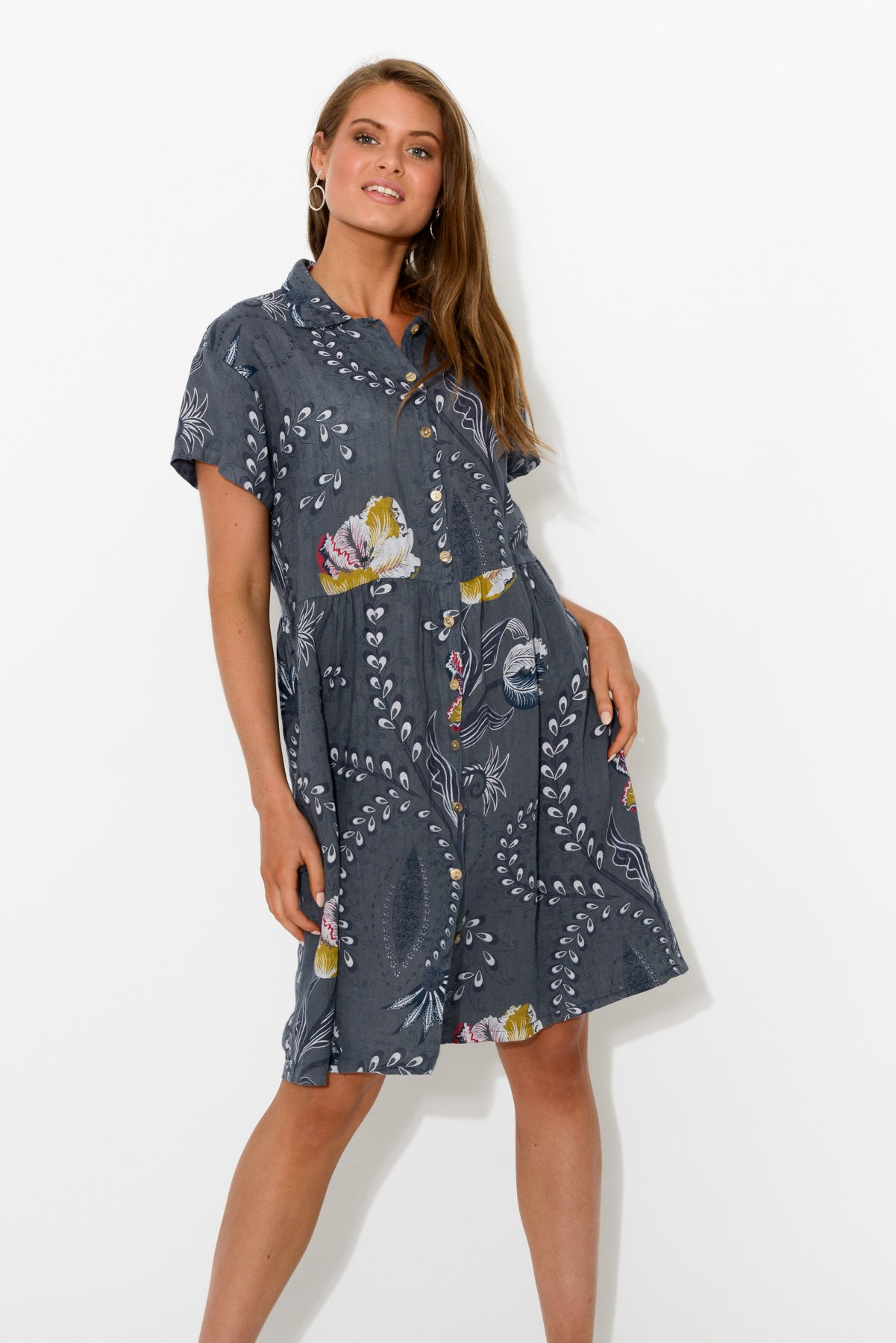 Paisley Button Down Linen Dress - Blue Bungalow