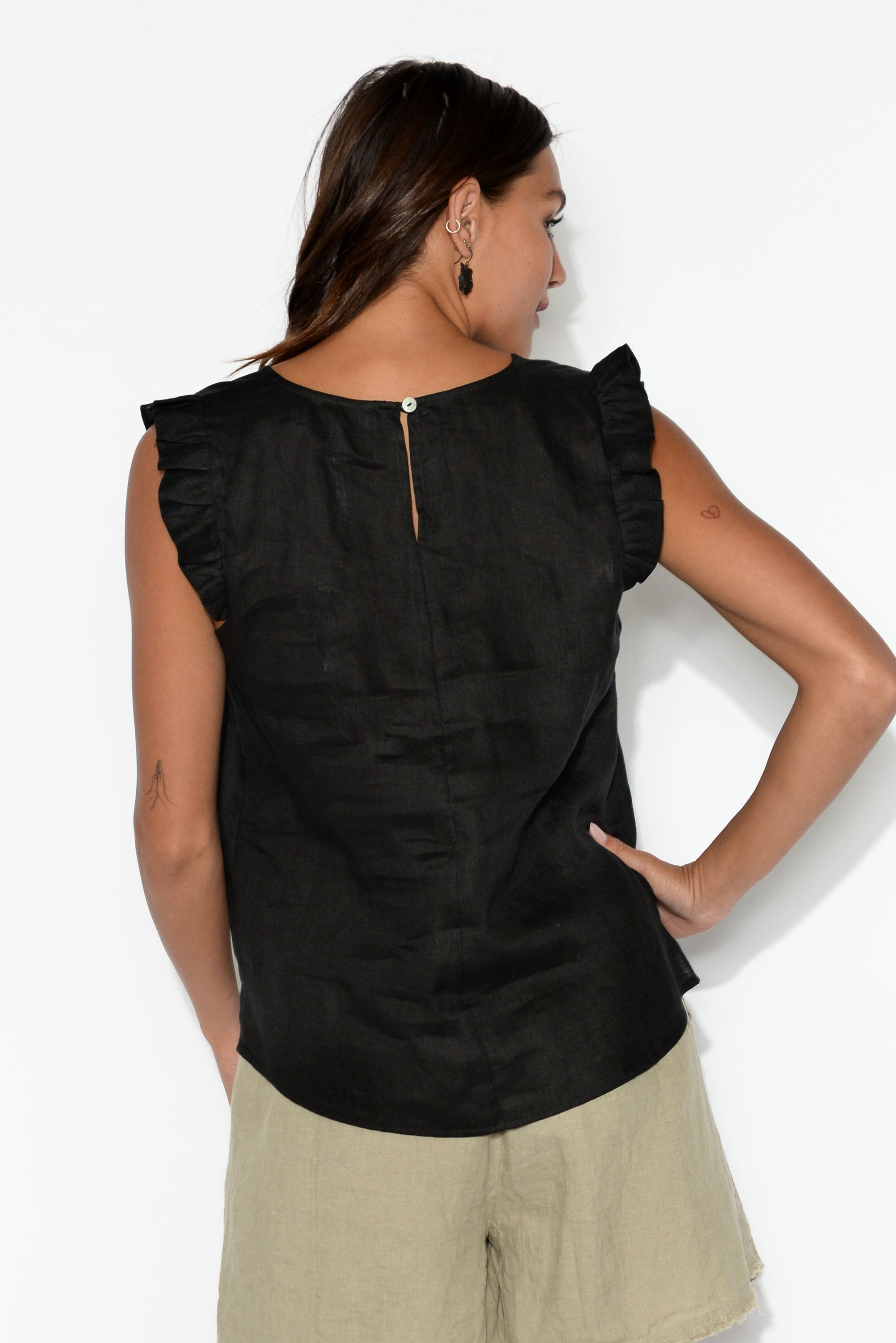 Palma Black Linen Sleeveless Top