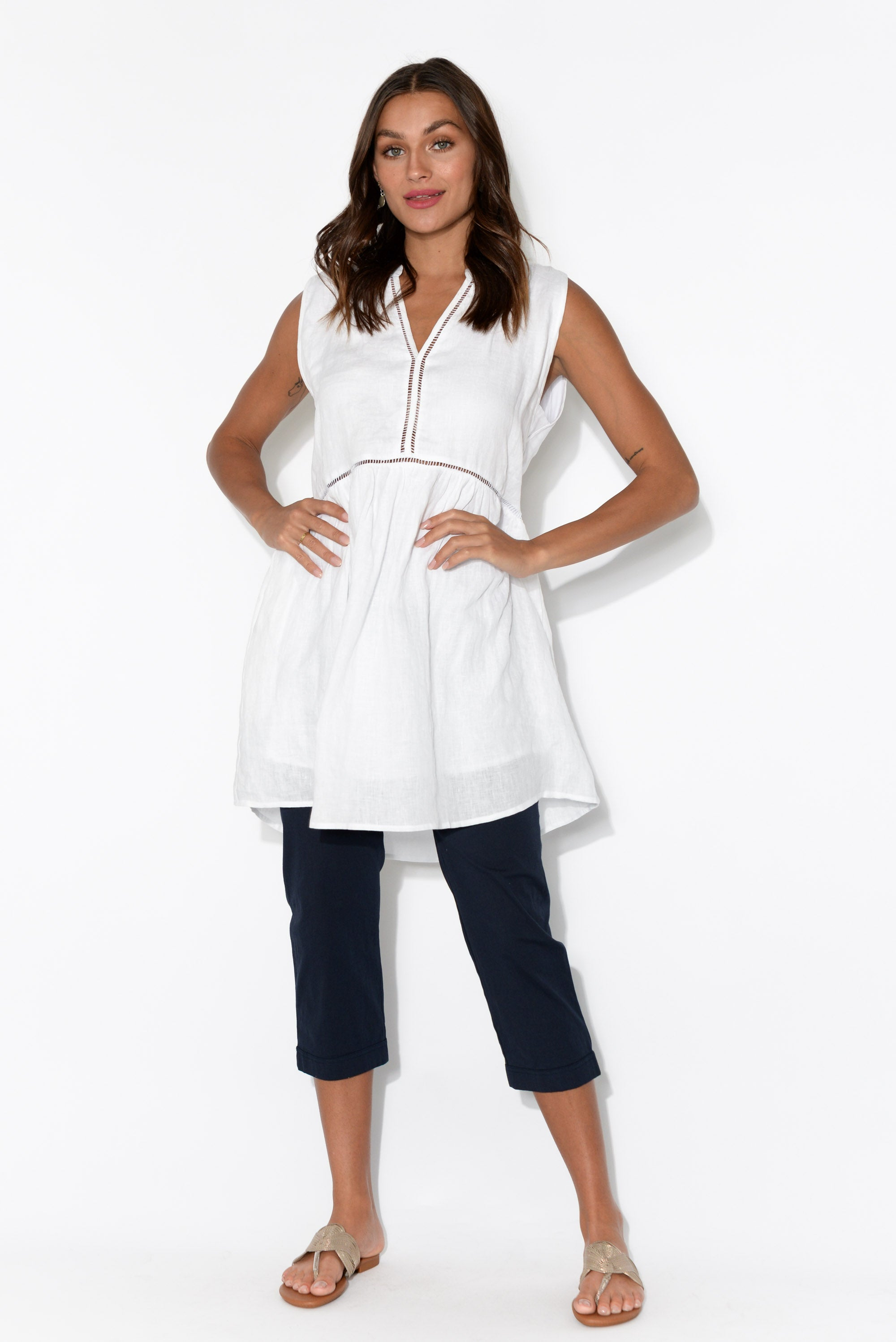 Palma White Linen Pocket Tunic
