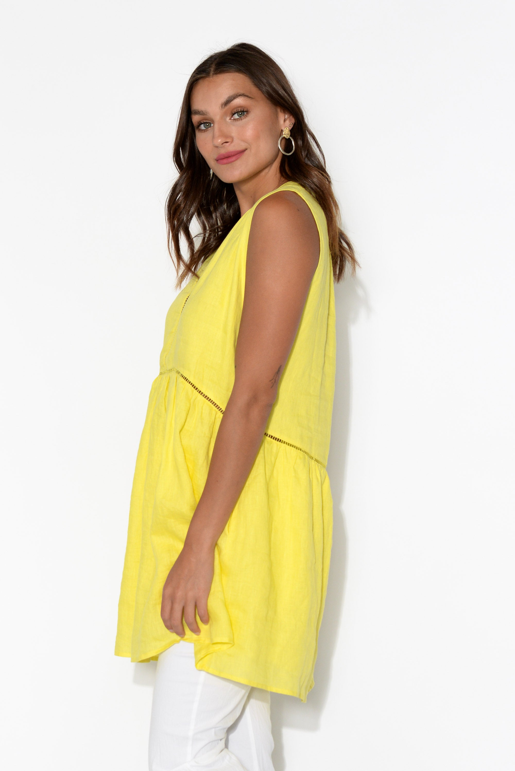 Palma Yellow Linen Pocket Tunic