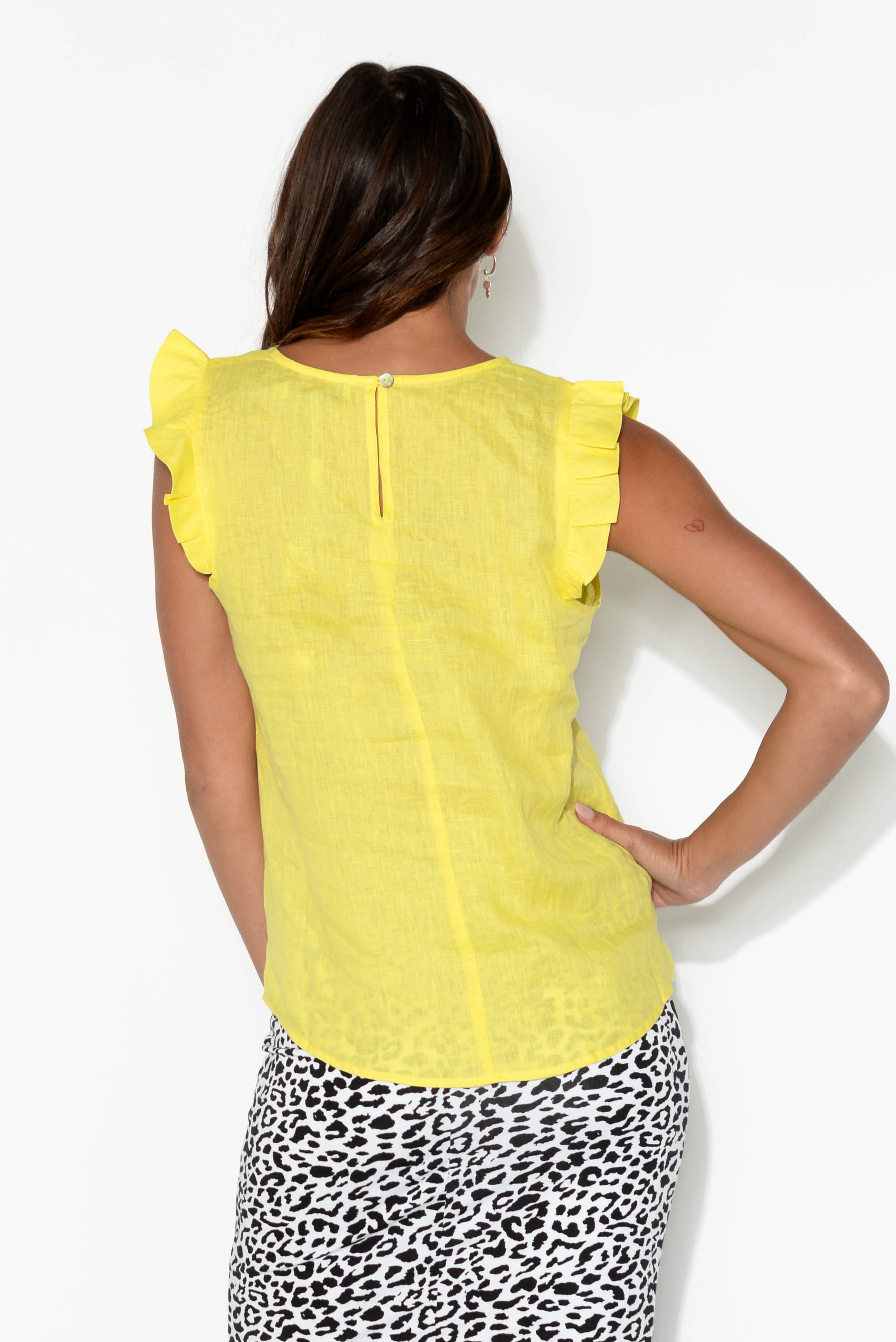 Palma Yellow Linen Sleeveless Top