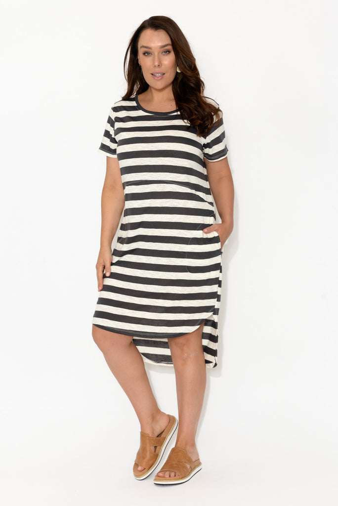 Parker Charcoal Stripe Tee Dress