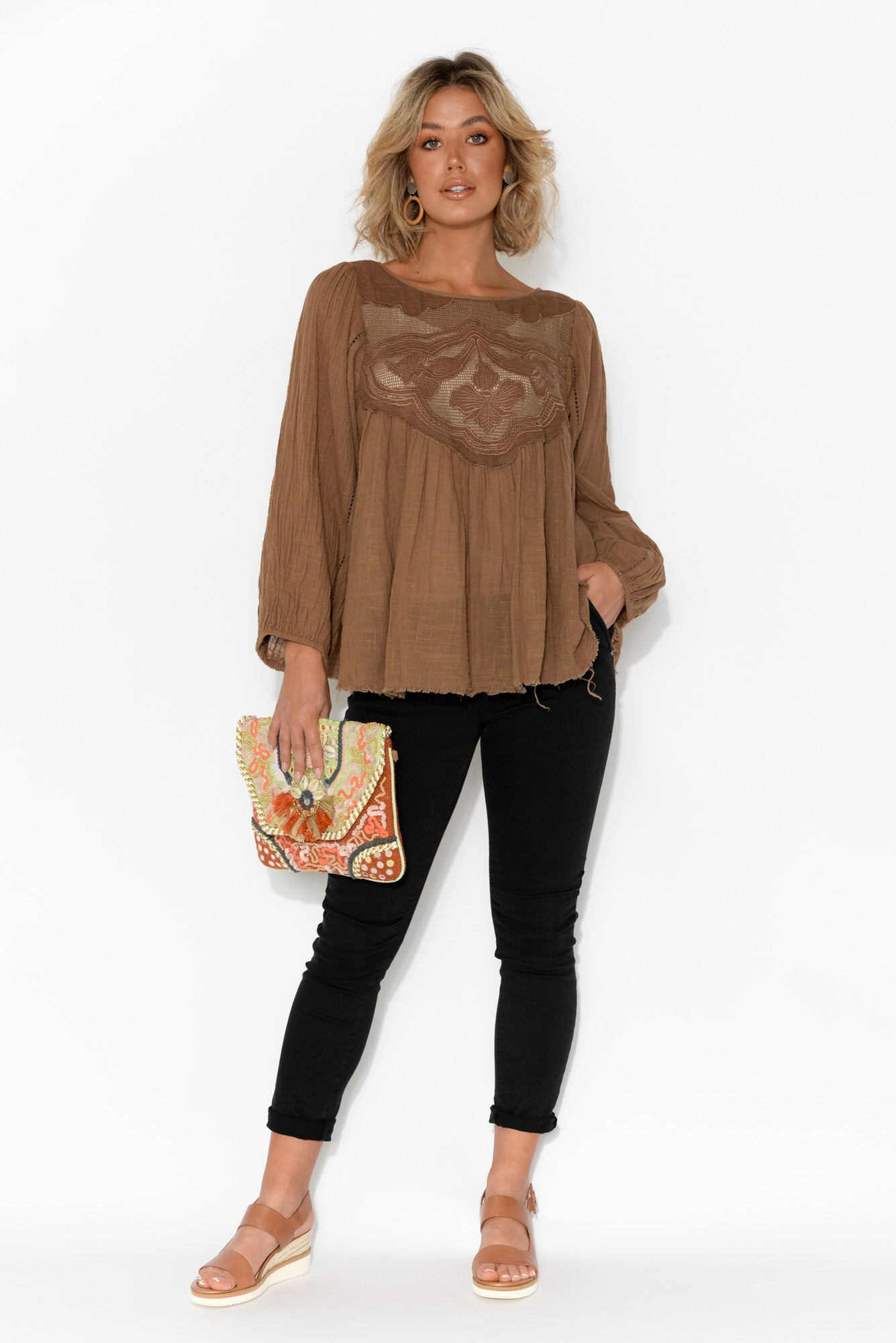 Patricia Embroidered Brown Long Sleeve Top