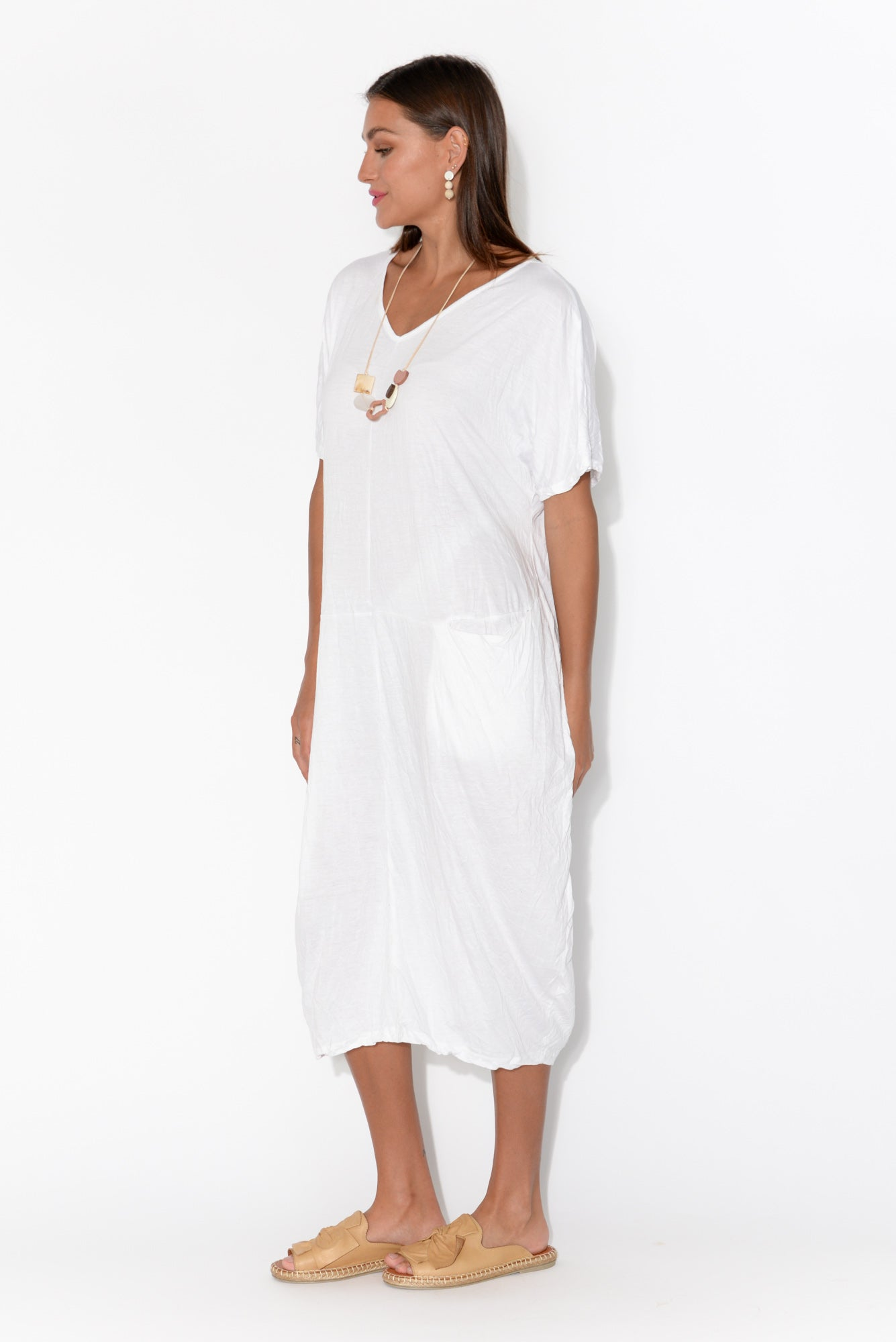 Payton White Cotton Pocket Dress