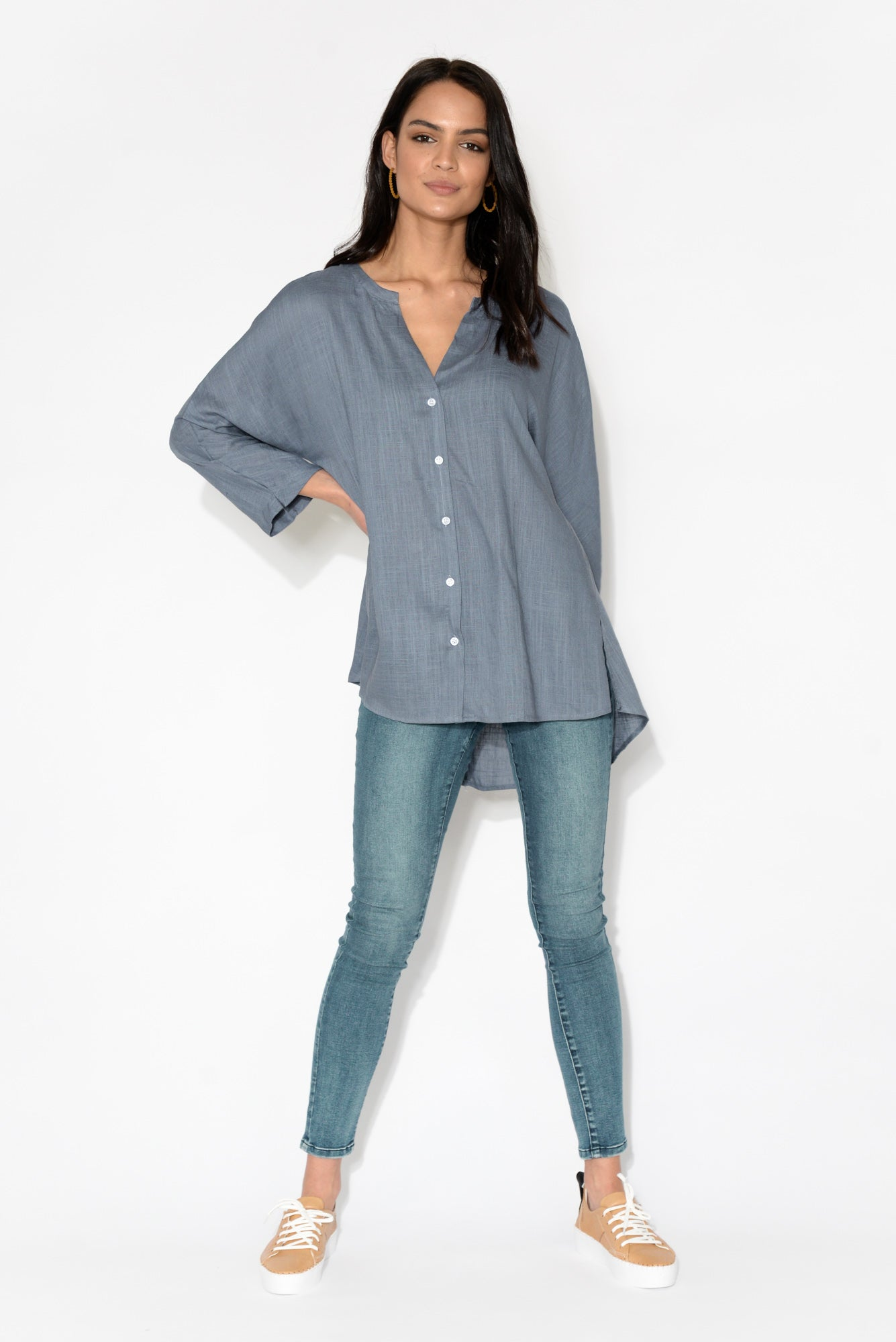 Penelope Blue Oversized Linen Blend Shirt