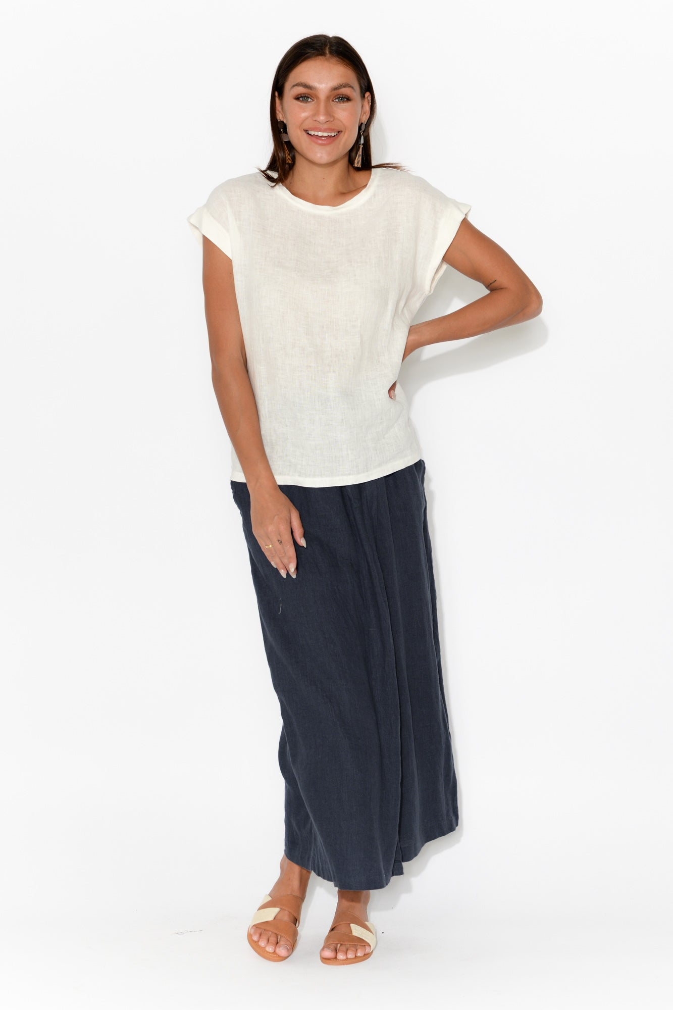 Sunrise Navy Linen Crossover Pant
