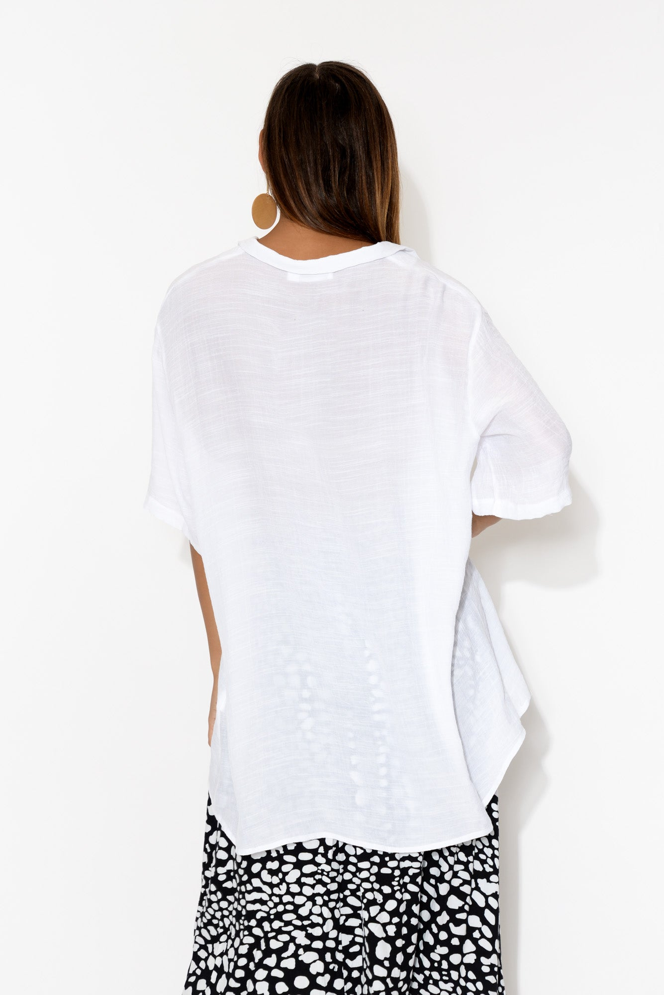 Perry White Collared Top