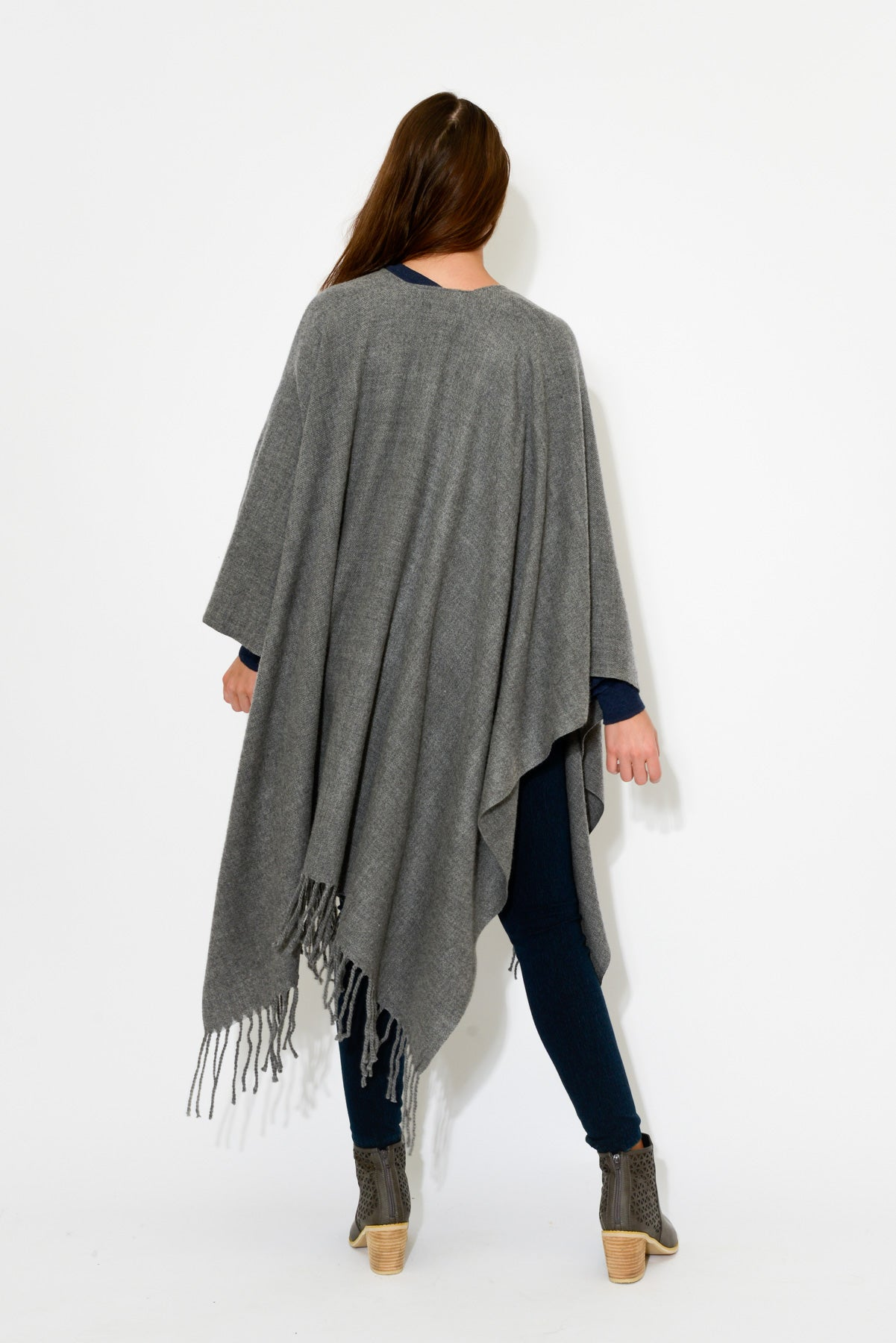 Peta Grey Merino Wool Wrap - Blue Bungalow