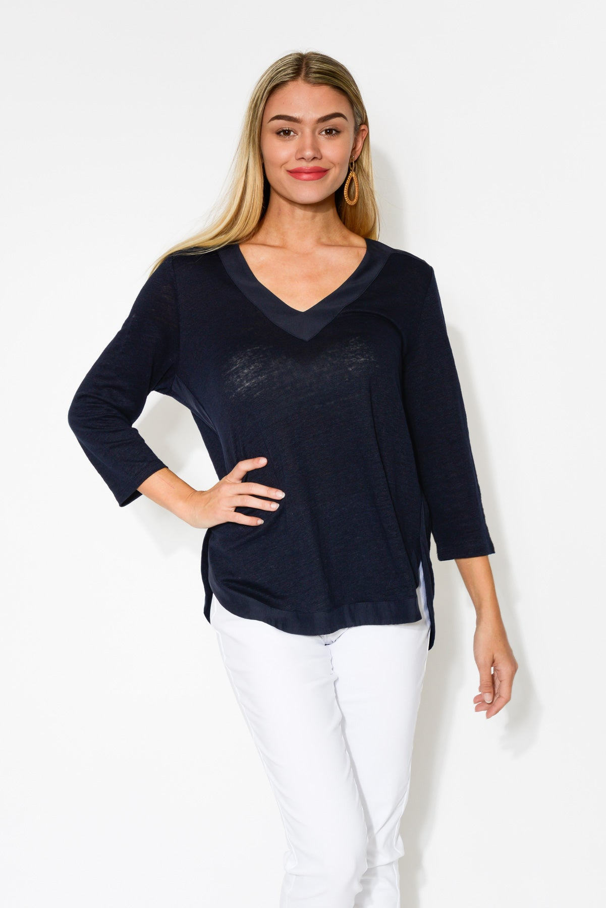 Petra Navy V Neck Linen Top - Blue Bungalow