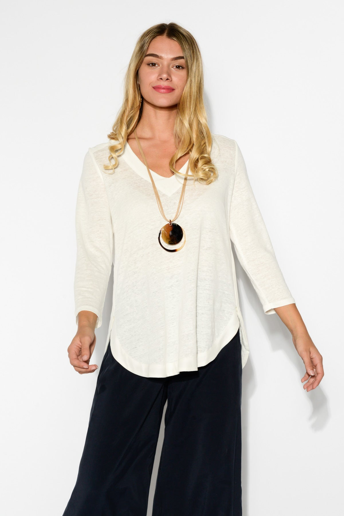 Petra White V Neck Linen Top - Blue Bungalow