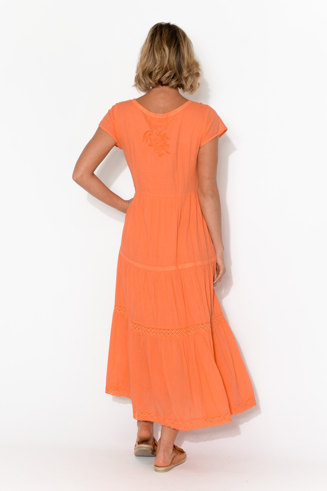 Phoebe Orange Cotton Tiered Maxi Dress