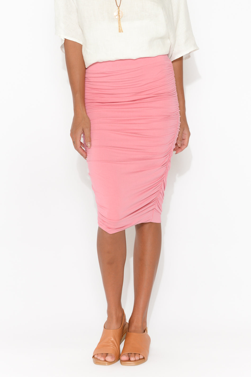 Pink Bamboo Ruched Skirt
