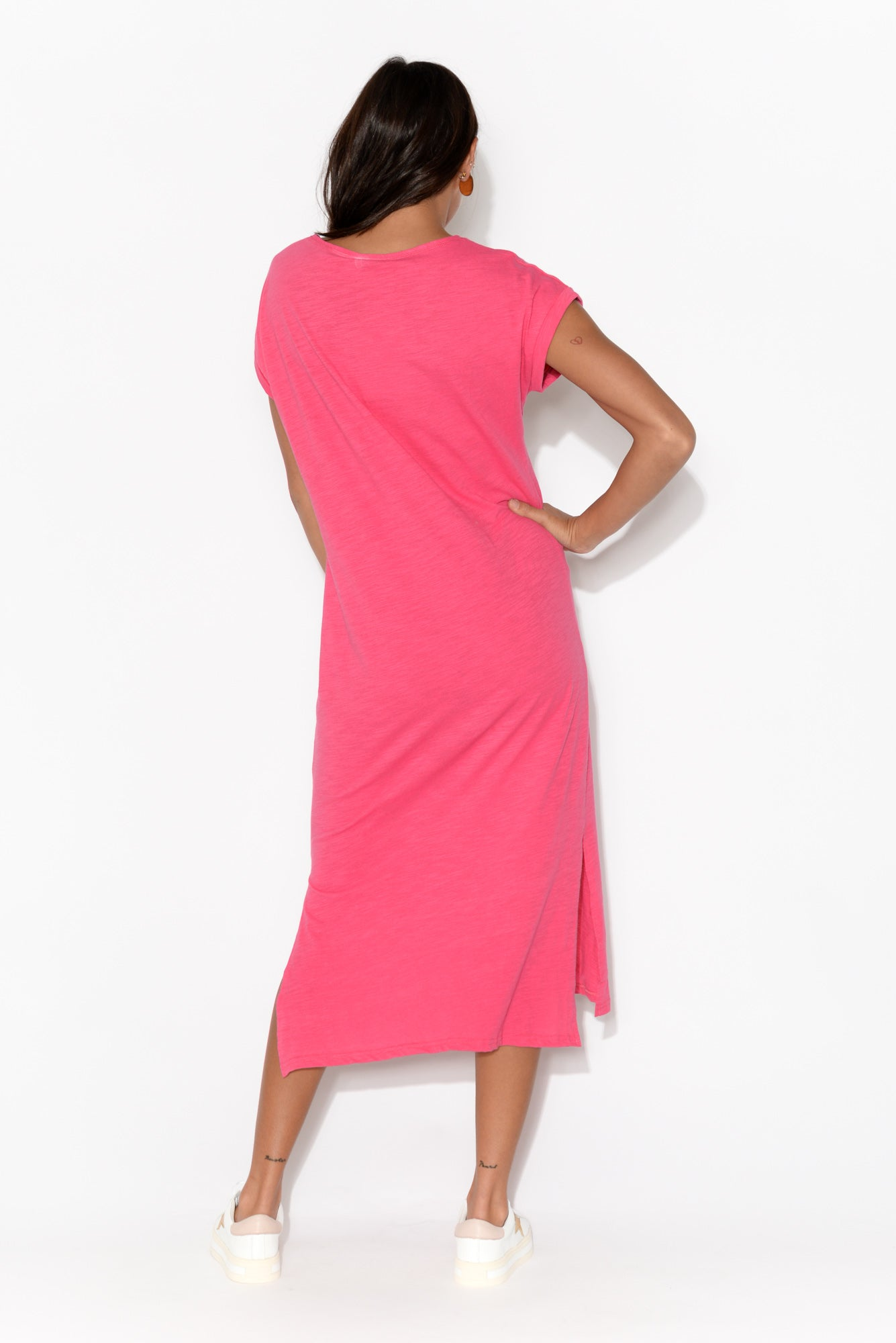 Pink Cotton Slub V Neck Tee Dress