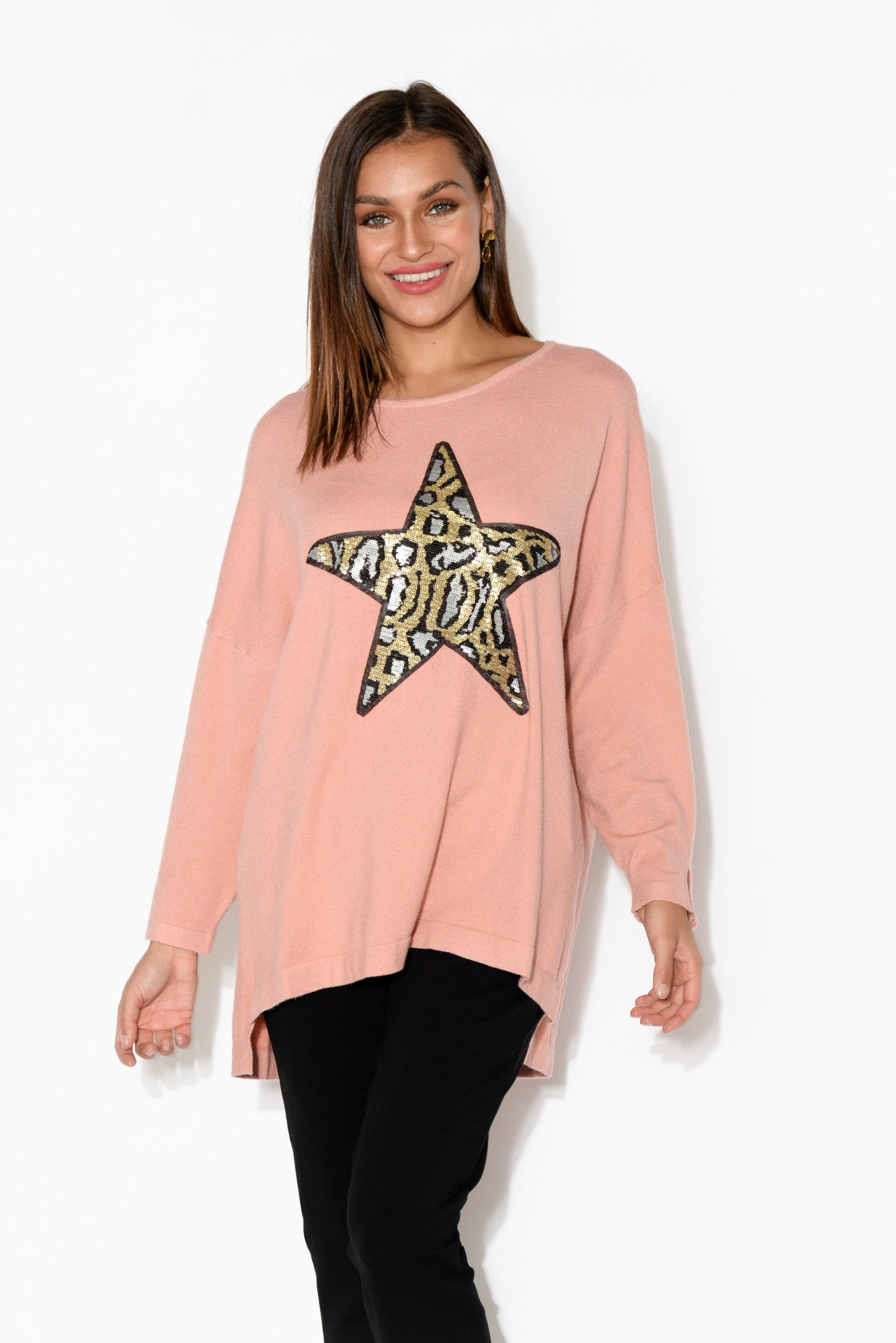 Pink Leopard Sequin Star Jumper