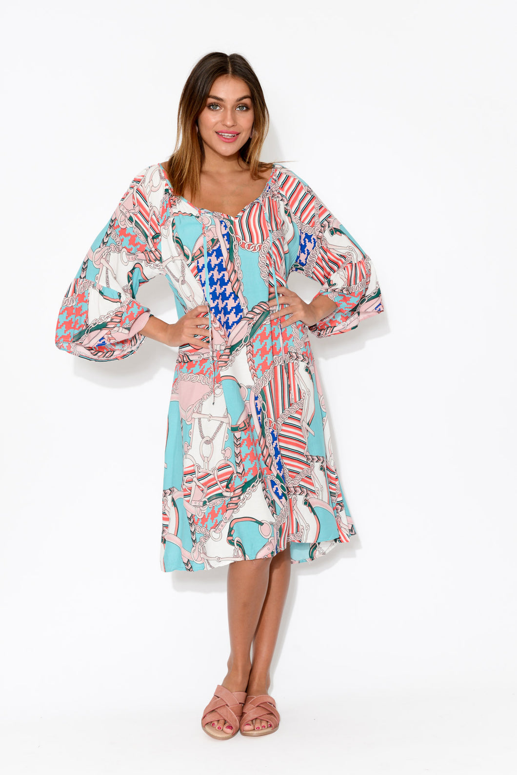 Pink Abstract Bell Sleeve Dress