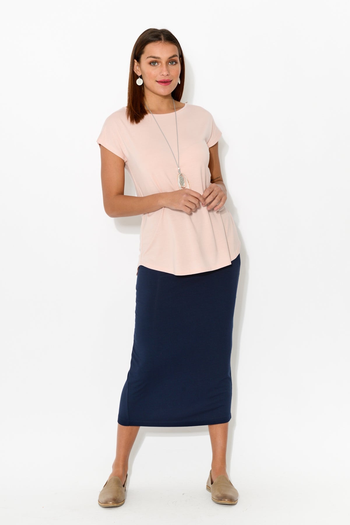 Pink Bamboo Pia Boatneck Tee - Blue Bungalow