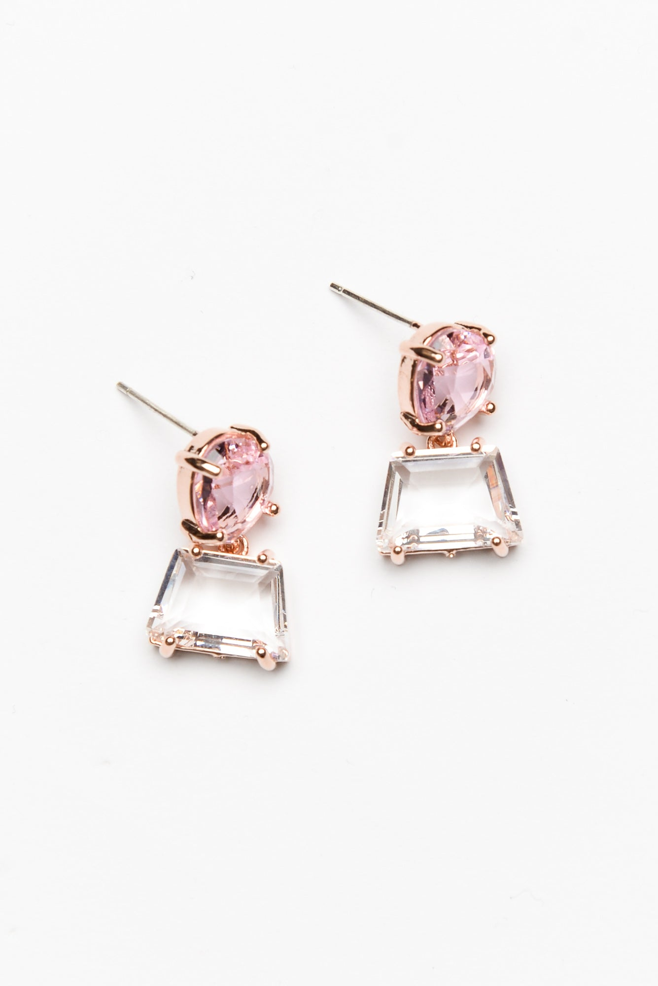 Pink Double Drop Lucent Earring