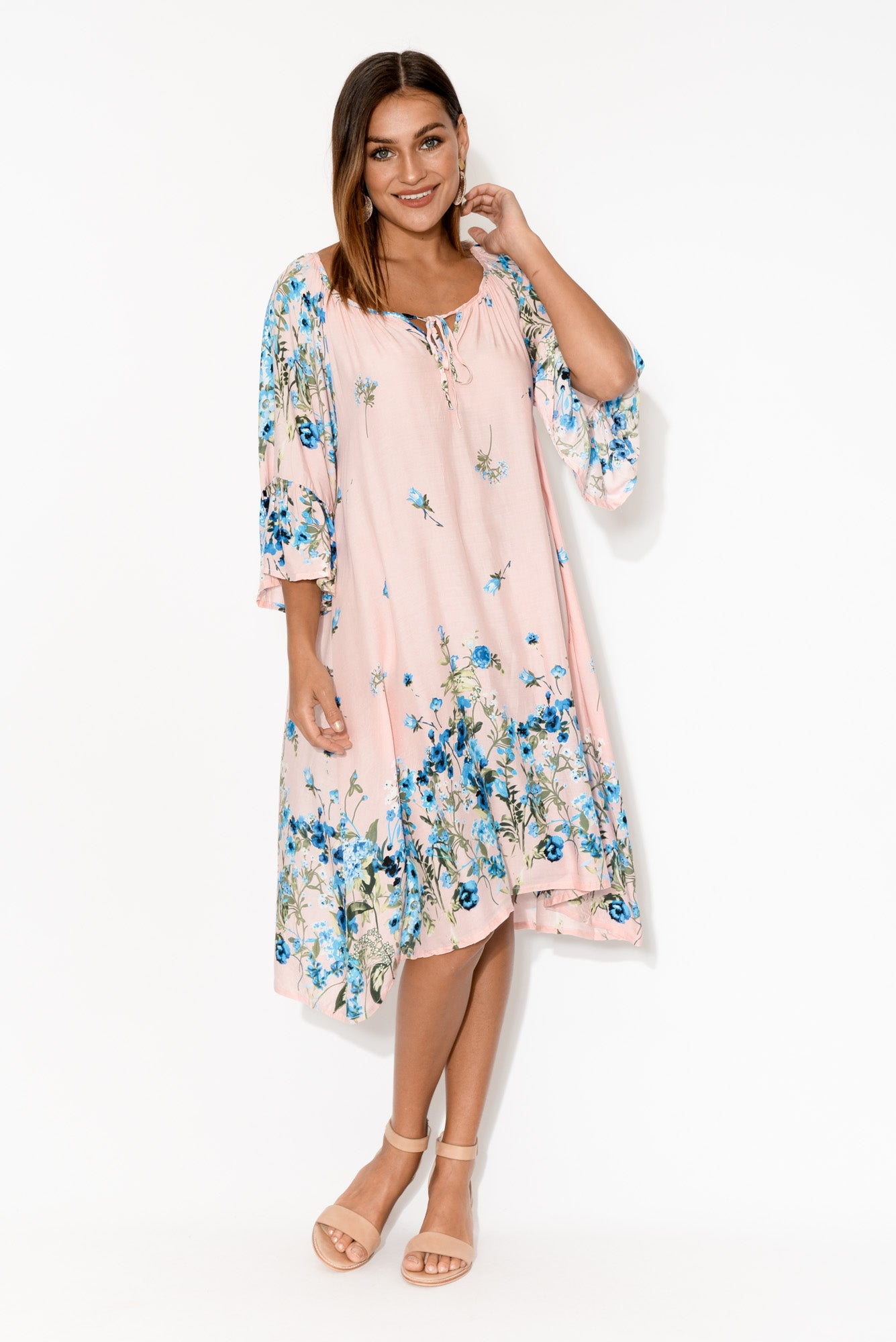 Pink Iris Bell Sleeve Dress