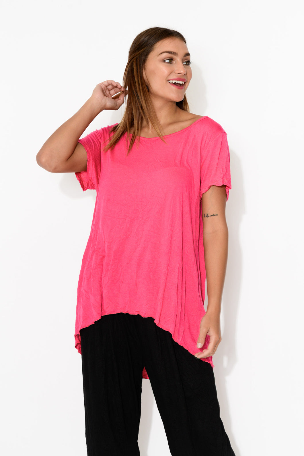 Pink Crinkle Cotton Hi Lo Top