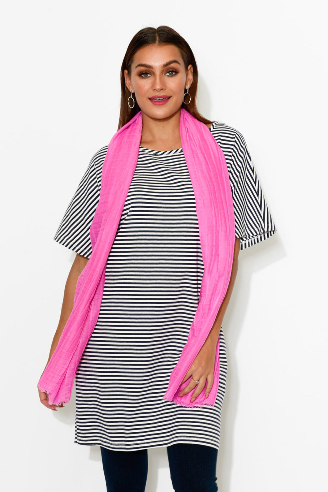 Pink Pleated Box Scarf - Blue Bungalow