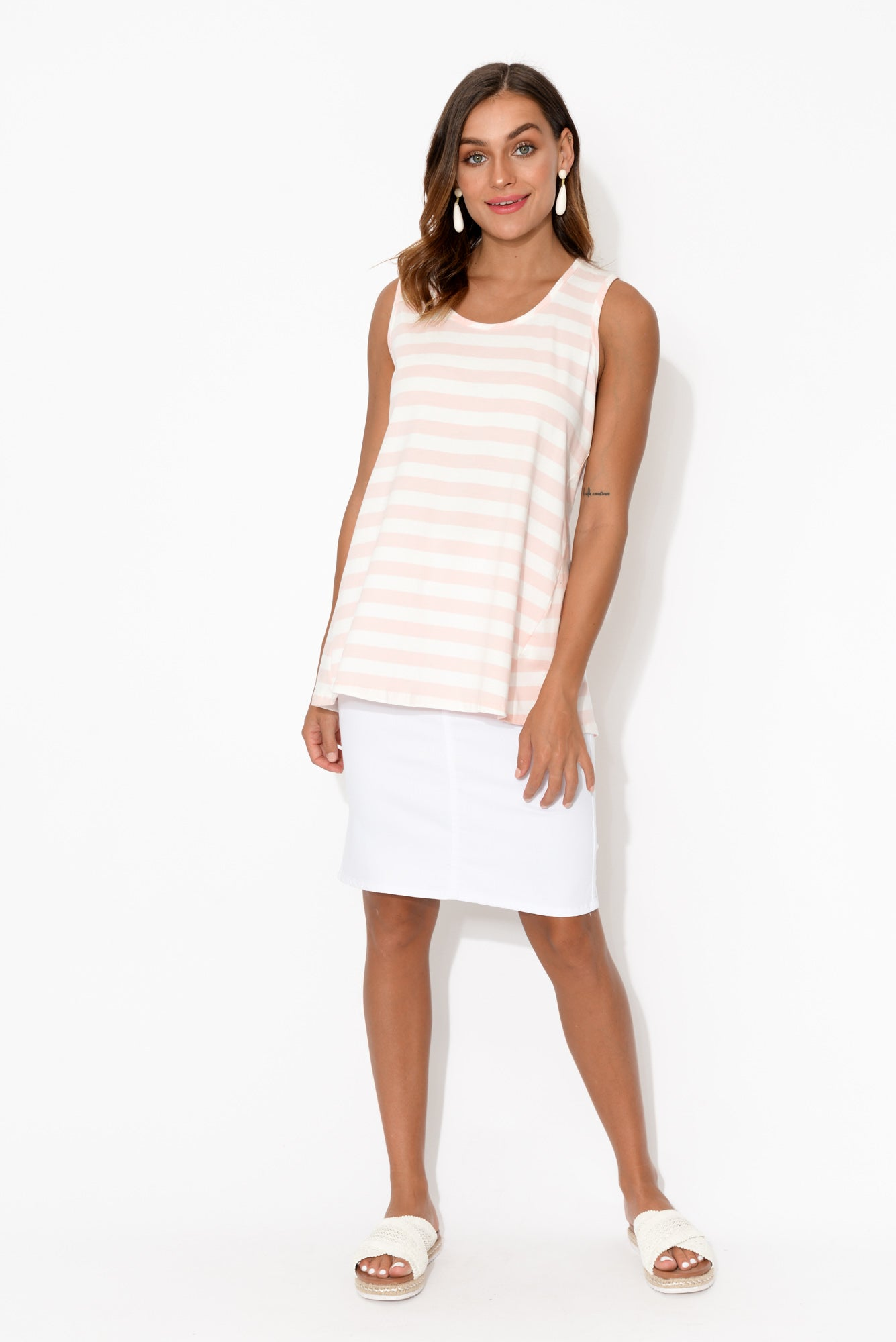 Pink Stripe Scoop Tank