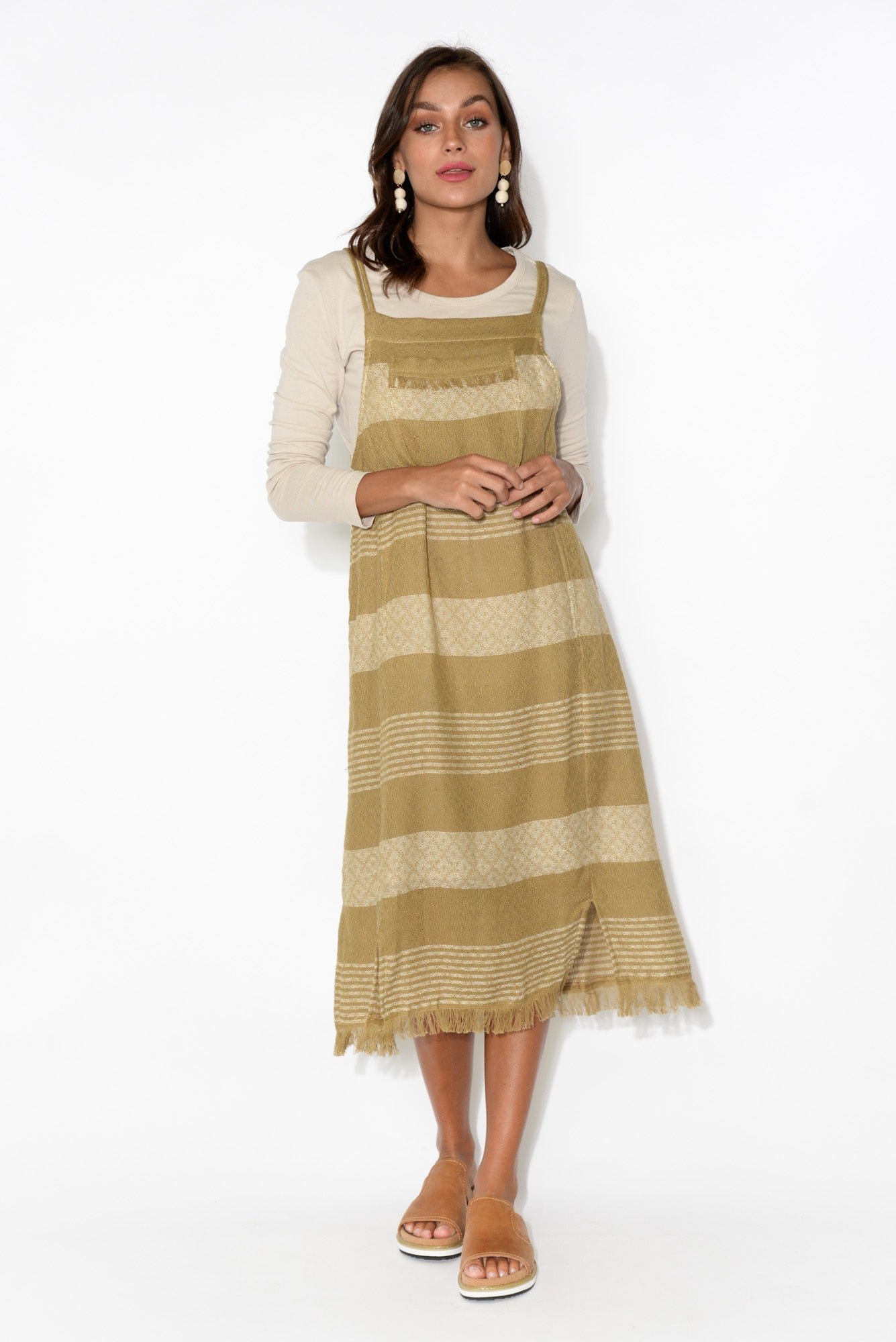 Pioneer Camel Stripe Cotton Pinafore Dress