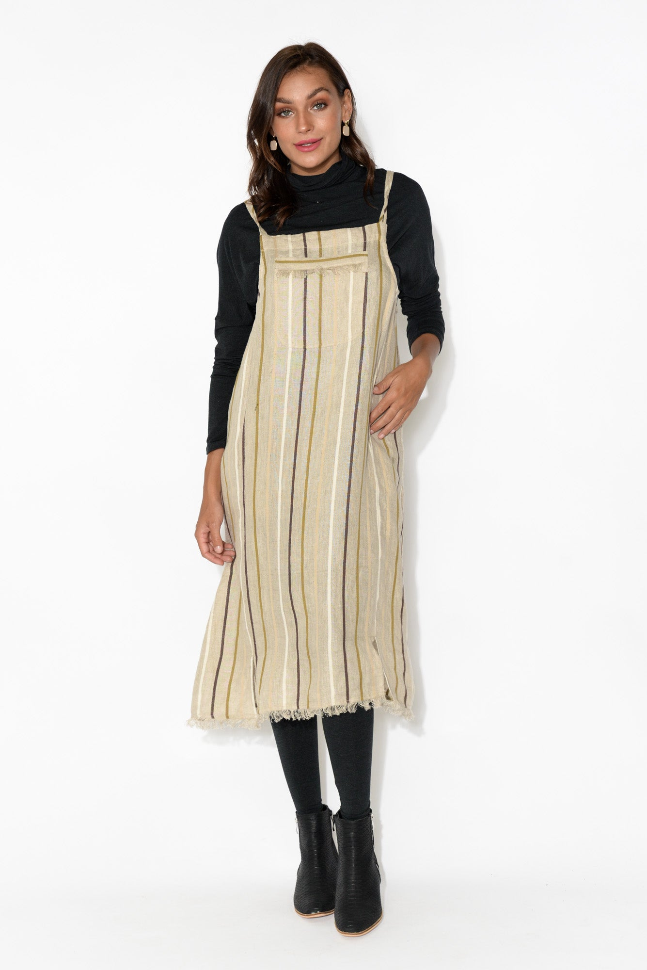 Pioneer Natural Stripe Linen Pinafore Dress