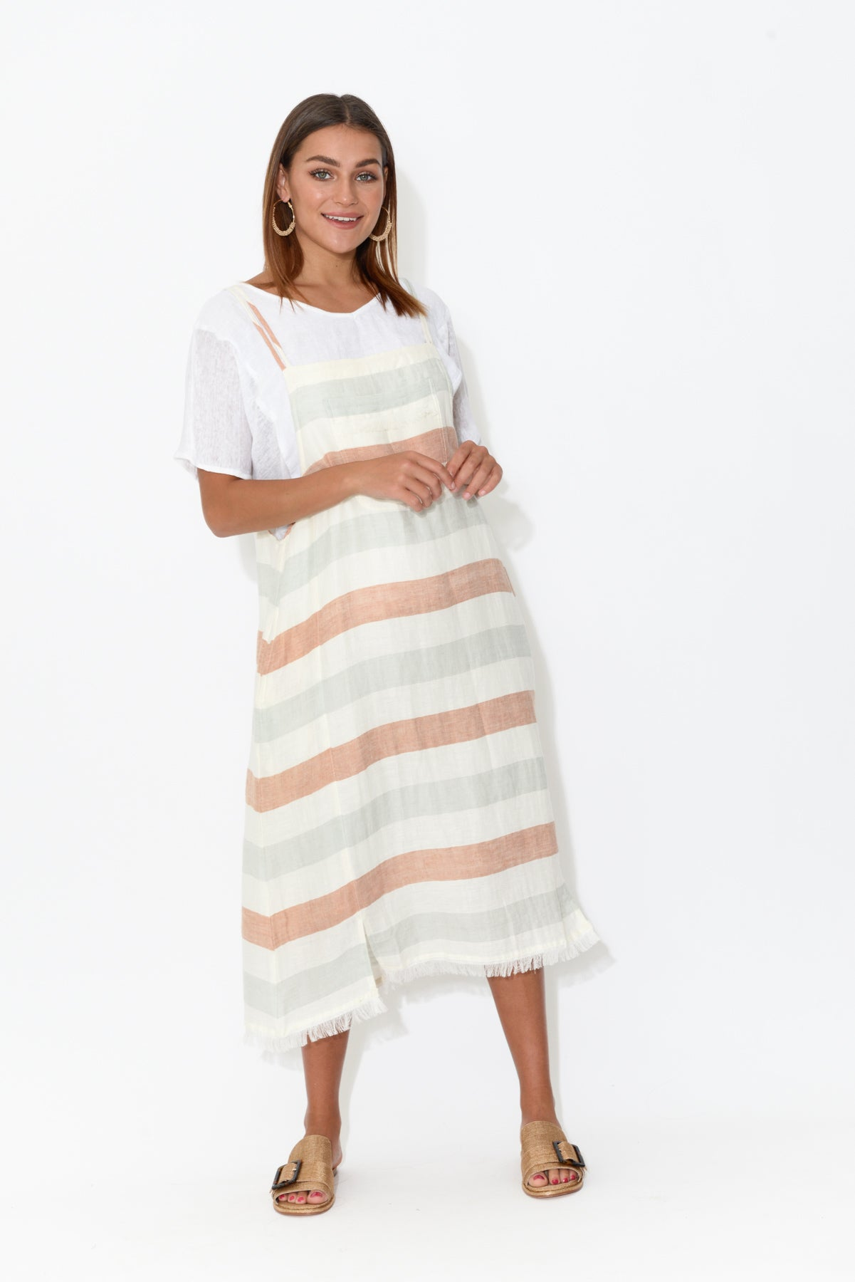 Pioneer Stripe Pinafore Dress - Blue Bungalow