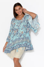 Piper Blue Floral Bell Sleeve Top