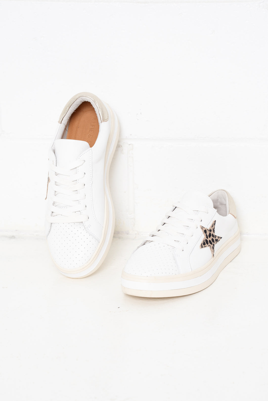 Pixie Star White Leopard Leather Sneaker