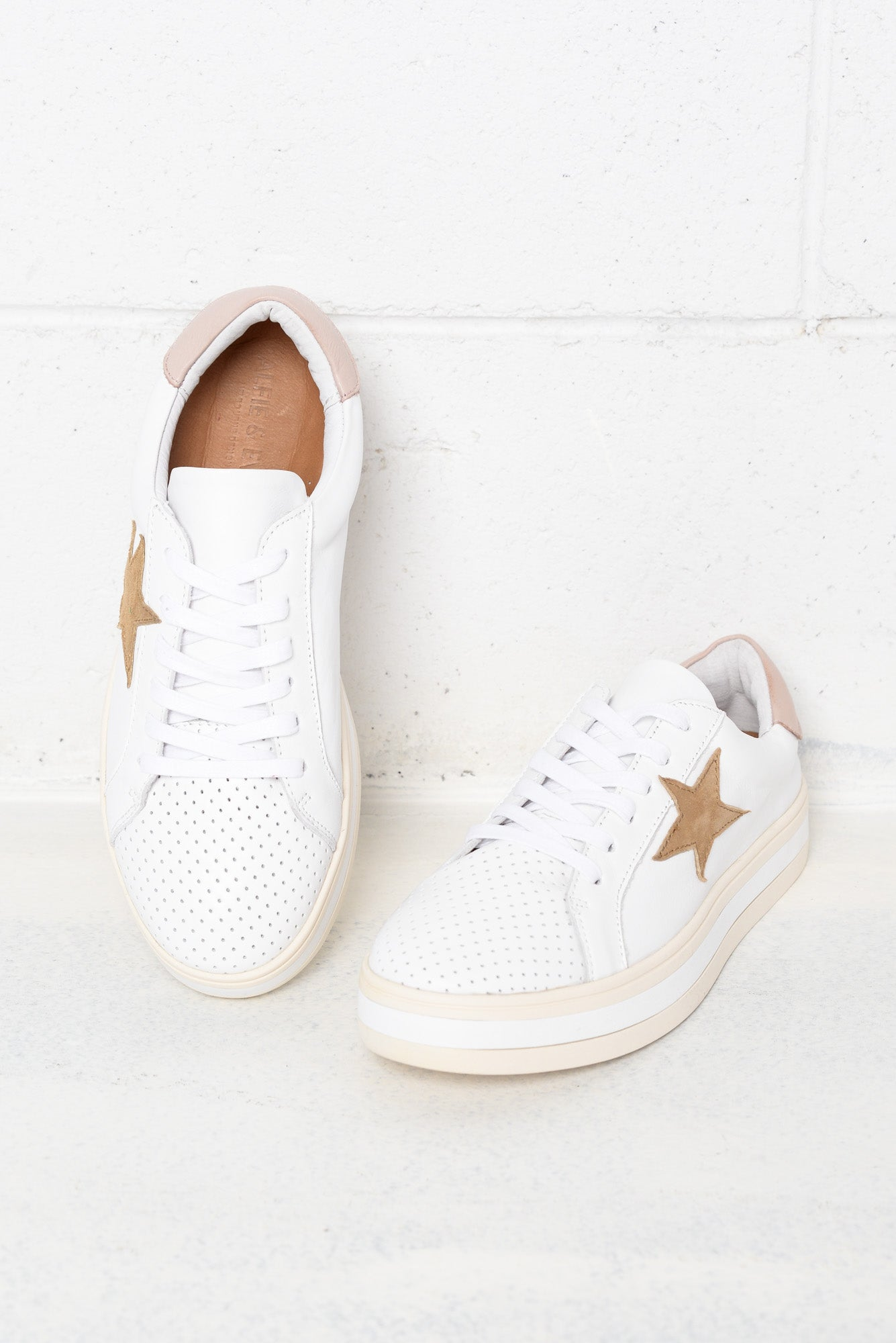 blush leather sneakers