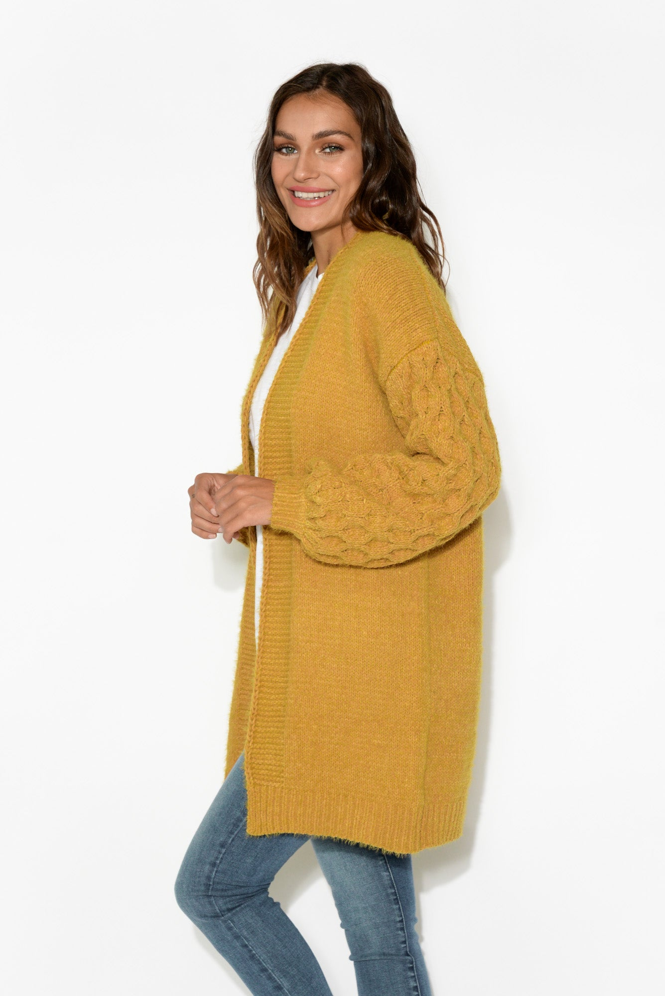 Poppy Mustard Cable Knit Cardigan