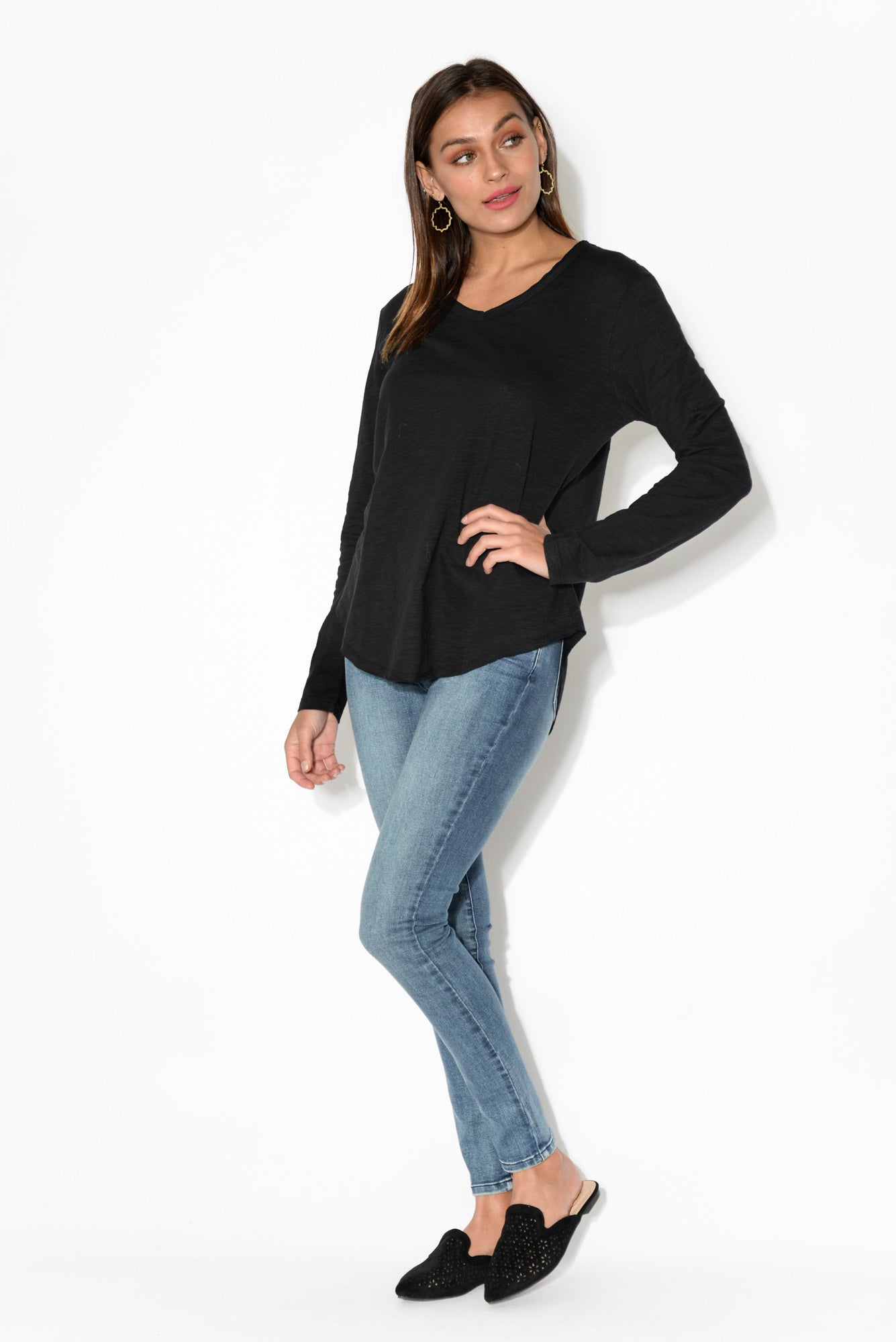 Portsea Black Cotton Long Sleeve Top