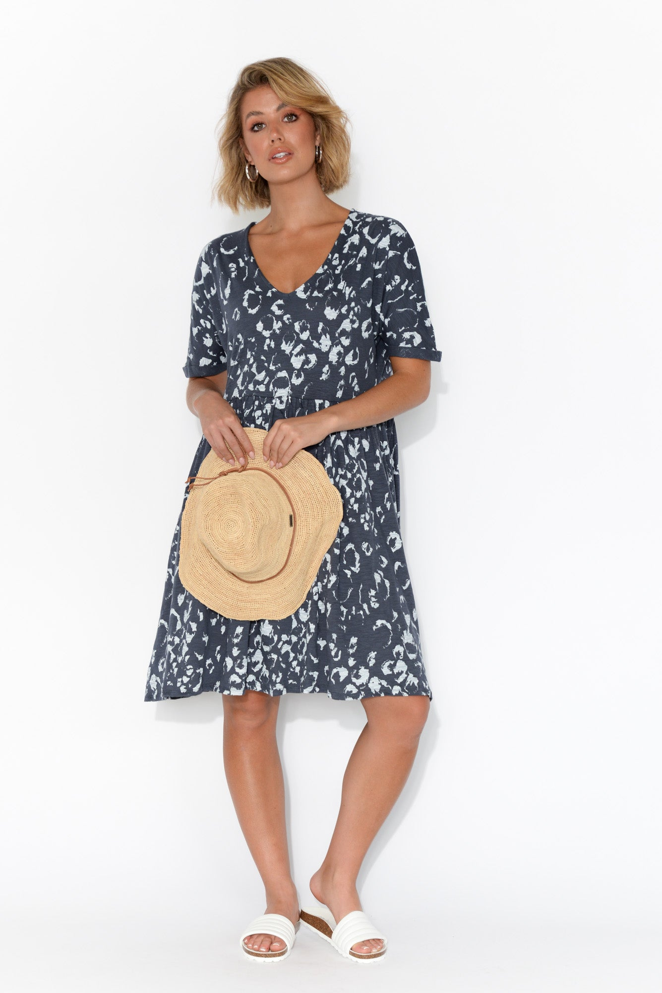Portsea Navy Bengal Cotton Gather Dress