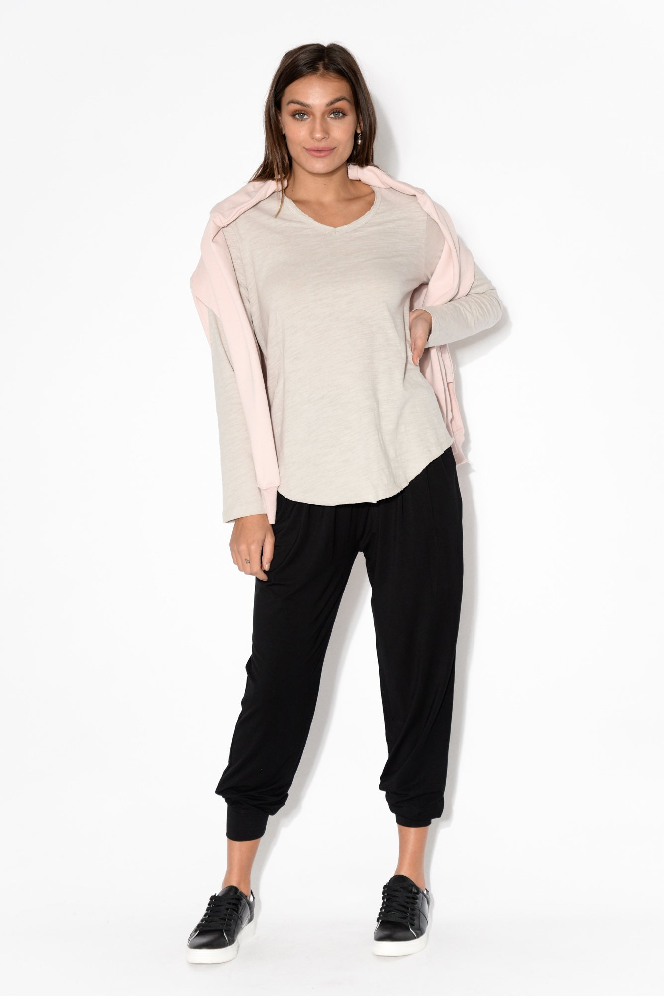 Portsea Stone Cotton Long Sleeve Top
