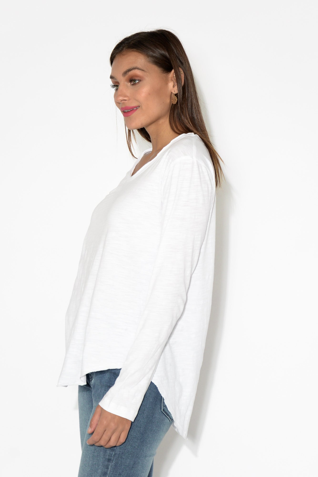 Portsea White Cotton Long Sleeve Top