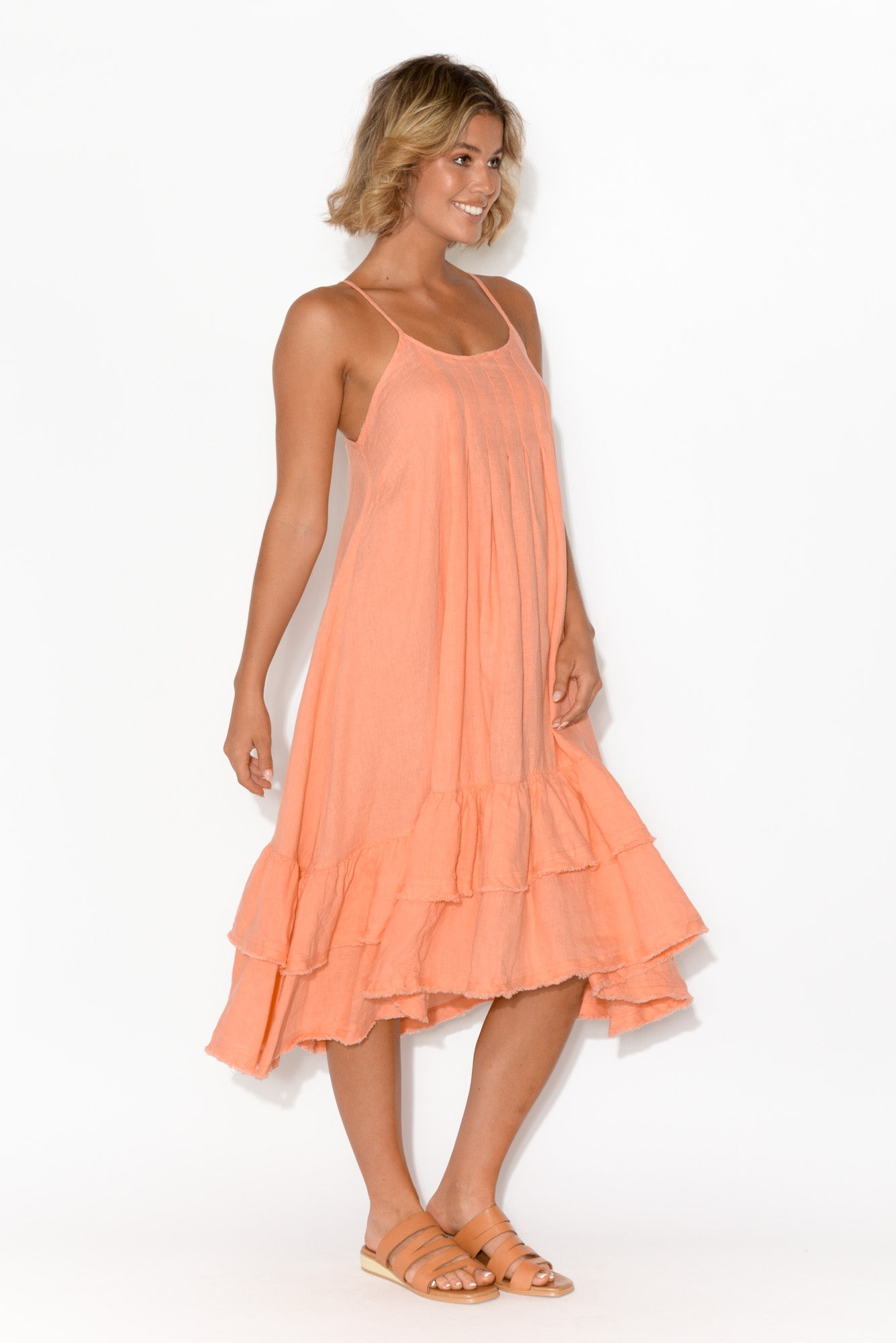 Potenza Coral Linen Ruffle Dress